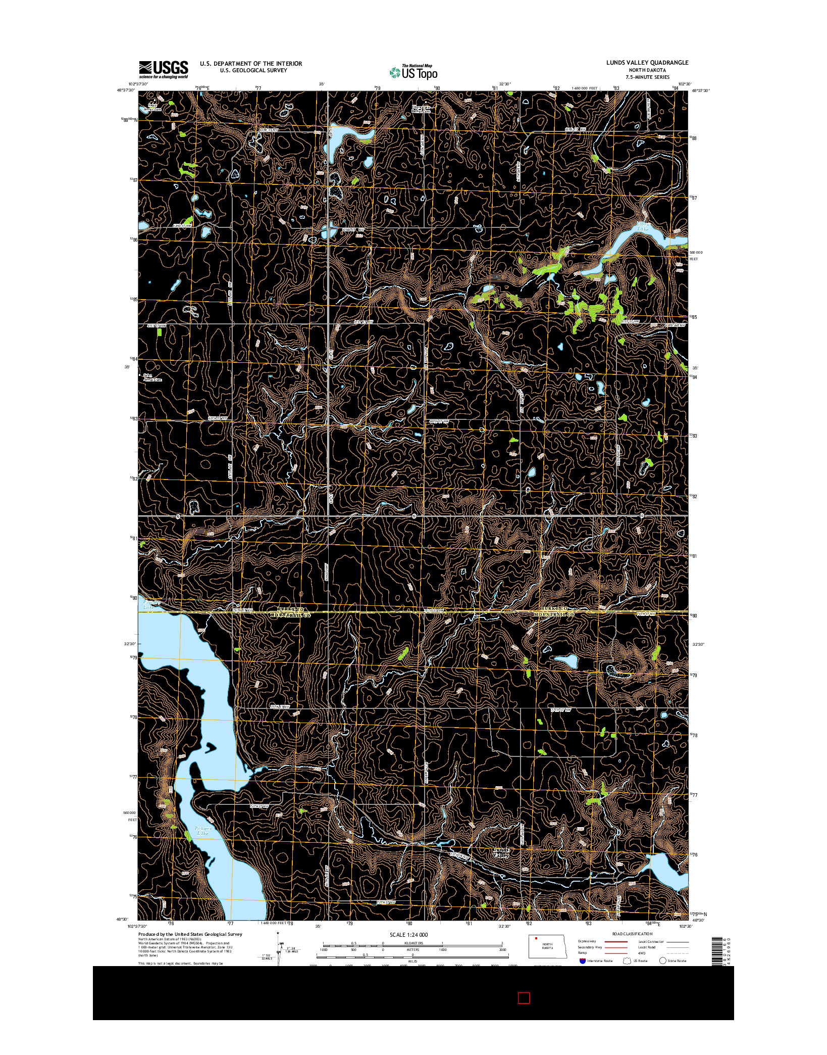 USGS US TOPO 7.5-MINUTE MAP FOR LUNDS VALLEY, ND 2014