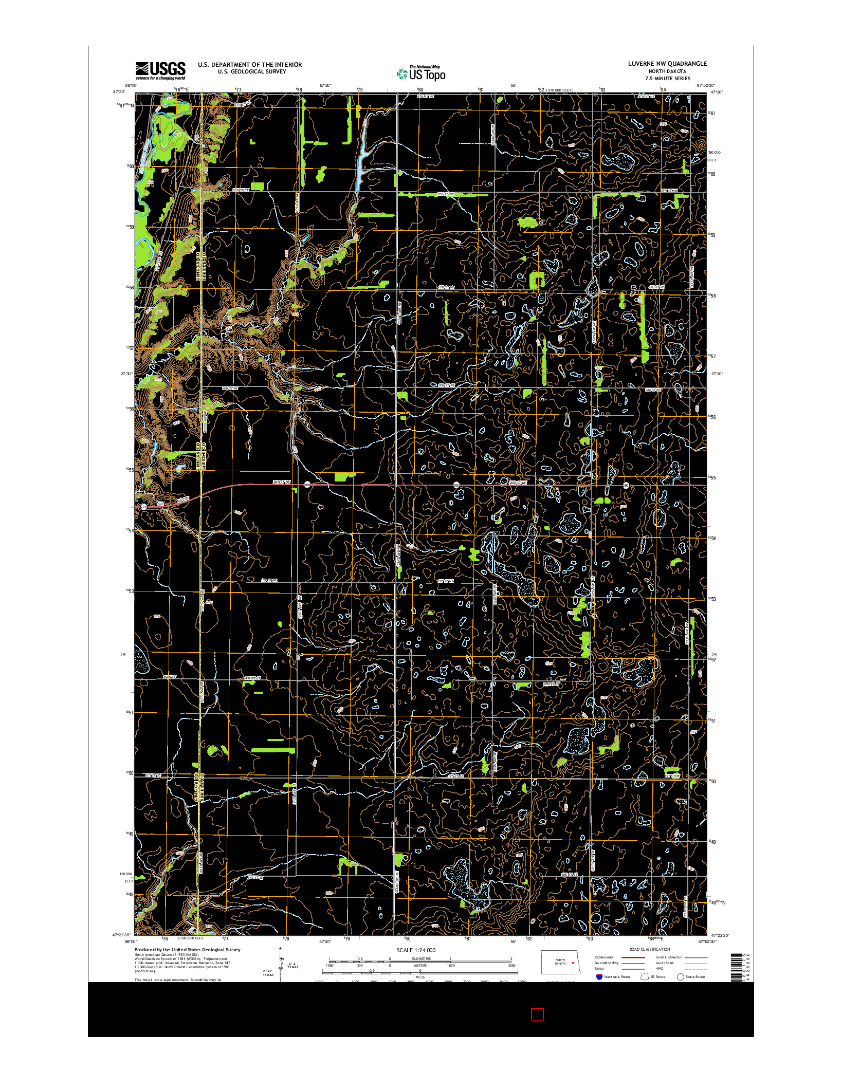 USGS US TOPO 7.5-MINUTE MAP FOR LUVERNE NW, ND 2014