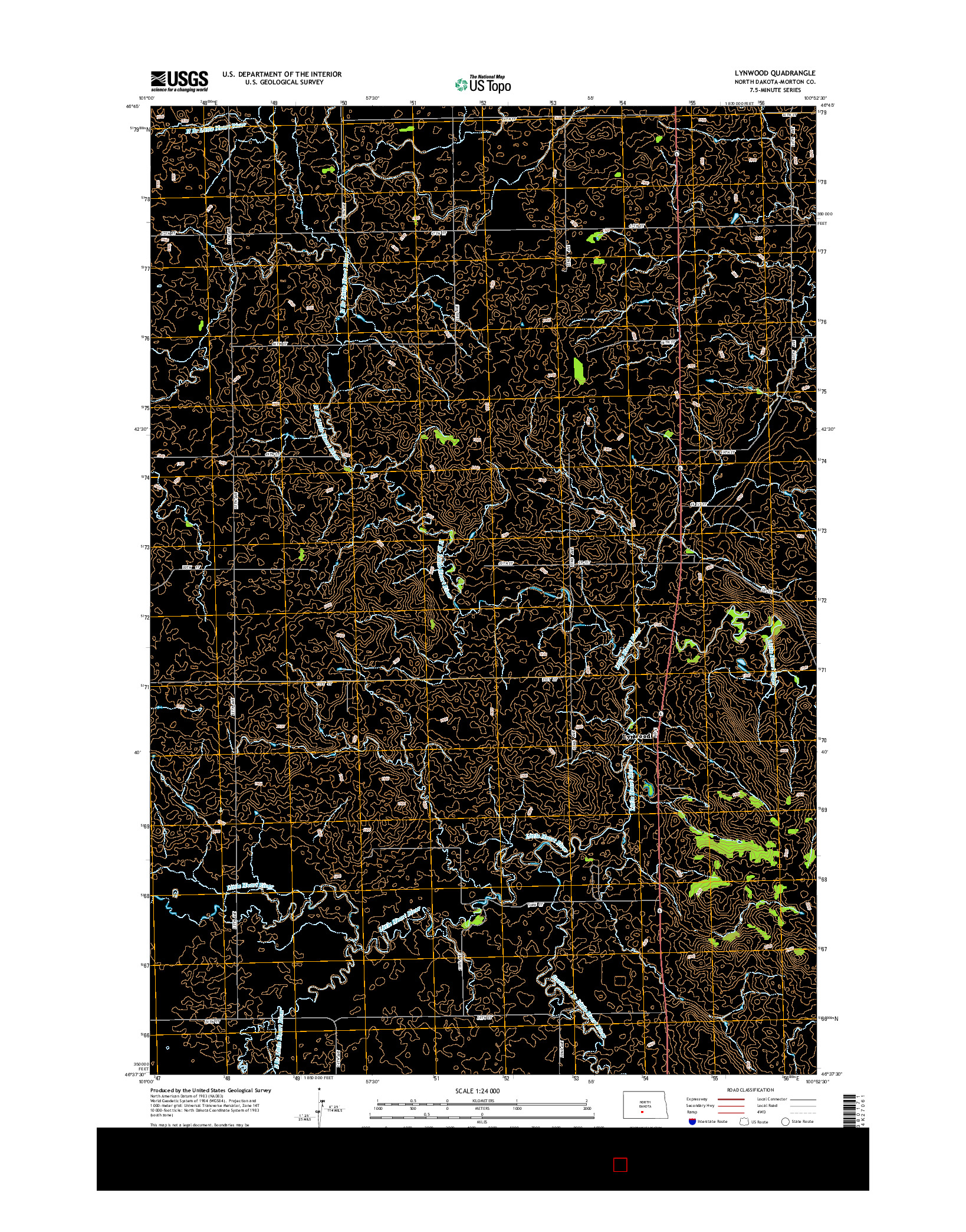 USGS US TOPO 7.5-MINUTE MAP FOR LYNWOOD, ND 2014