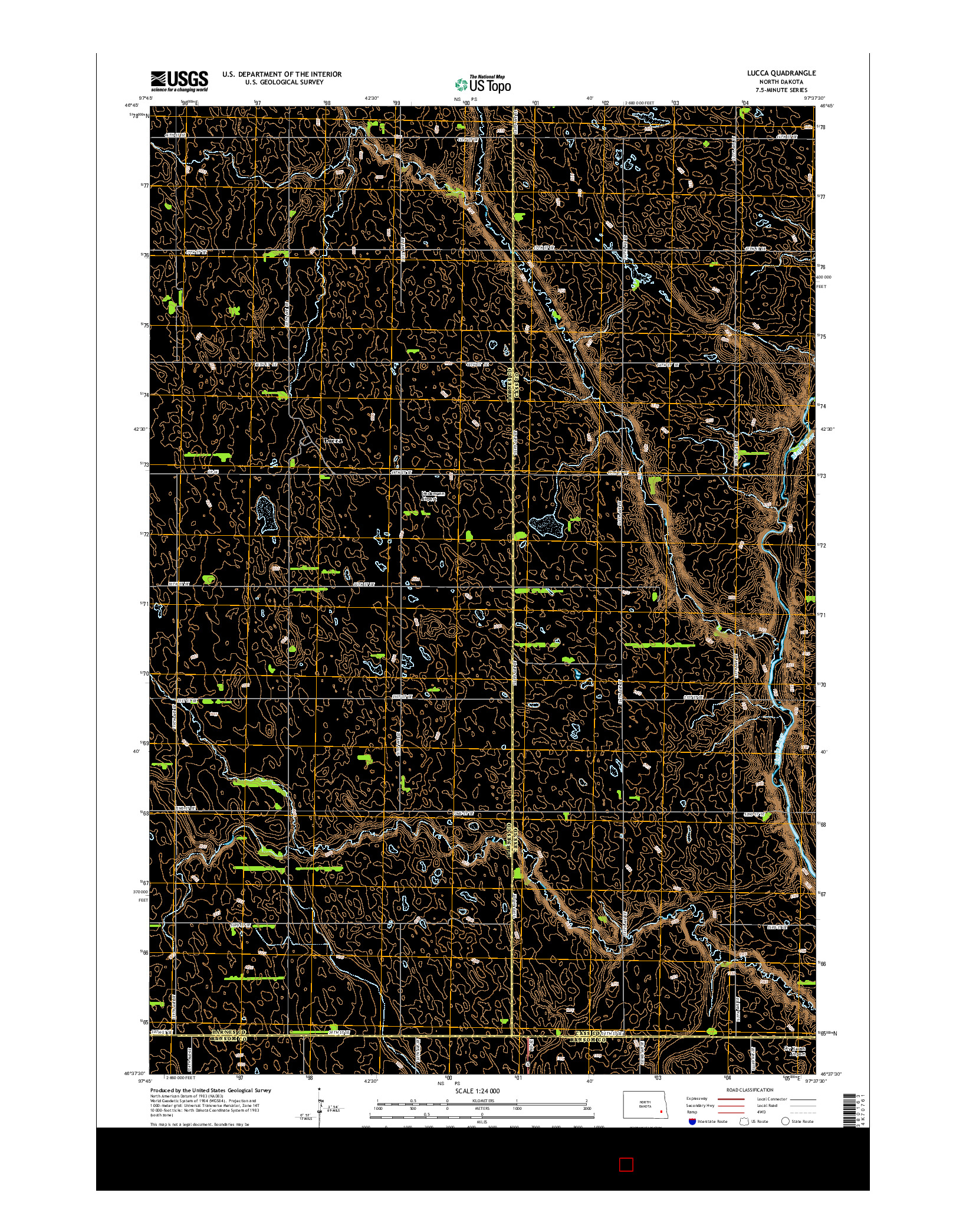 USGS US TOPO 7.5-MINUTE MAP FOR LUCCA, ND 2014