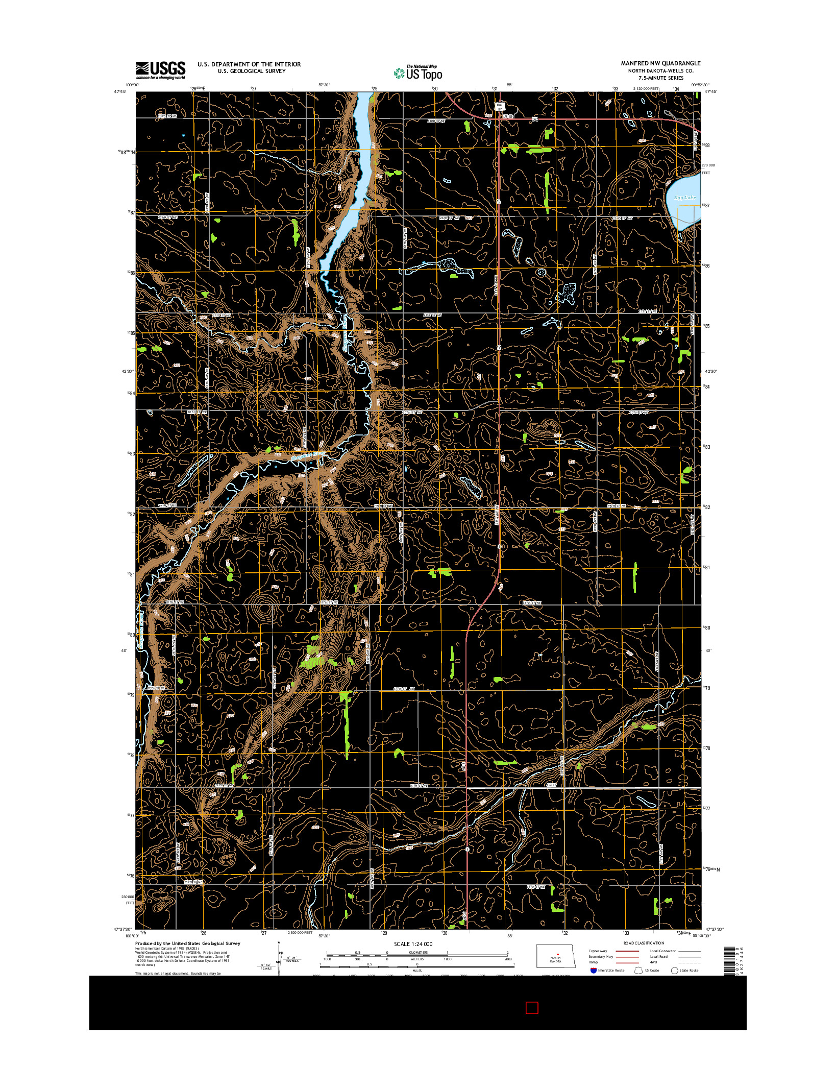 USGS US TOPO 7.5-MINUTE MAP FOR MANFRED NW, ND 2014