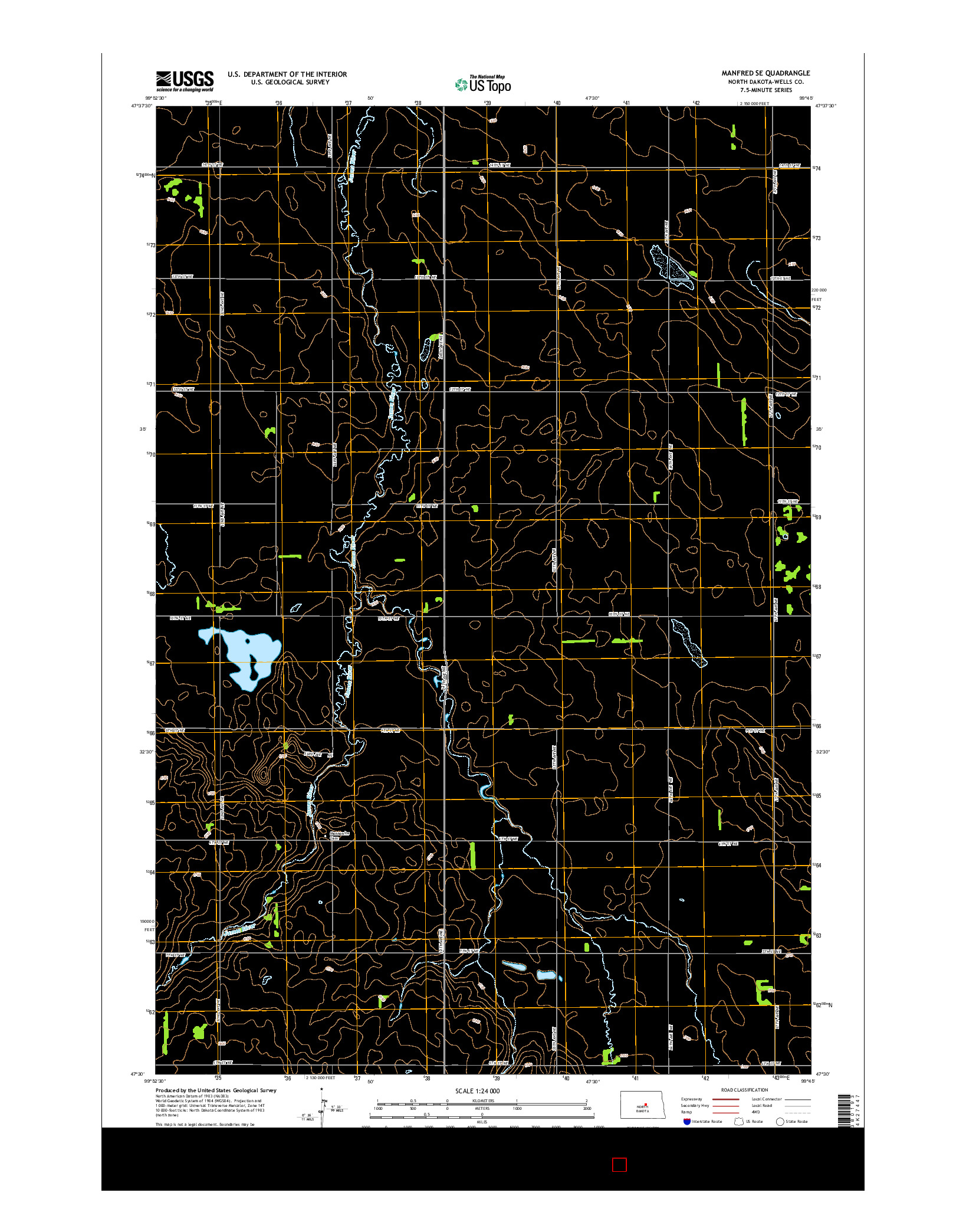 USGS US TOPO 7.5-MINUTE MAP FOR MANFRED SE, ND 2014