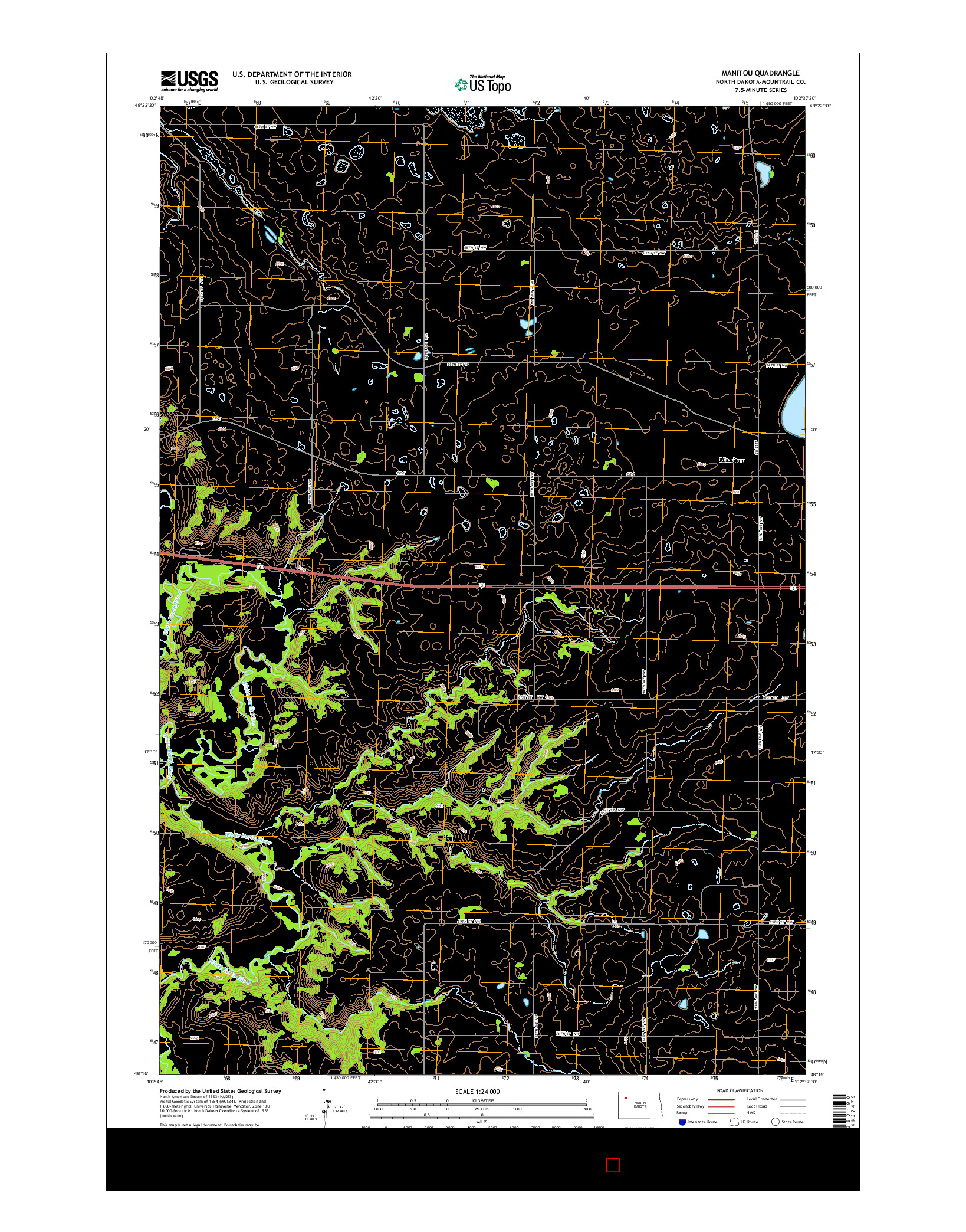 USGS US TOPO 7.5-MINUTE MAP FOR MANITOU, ND 2014