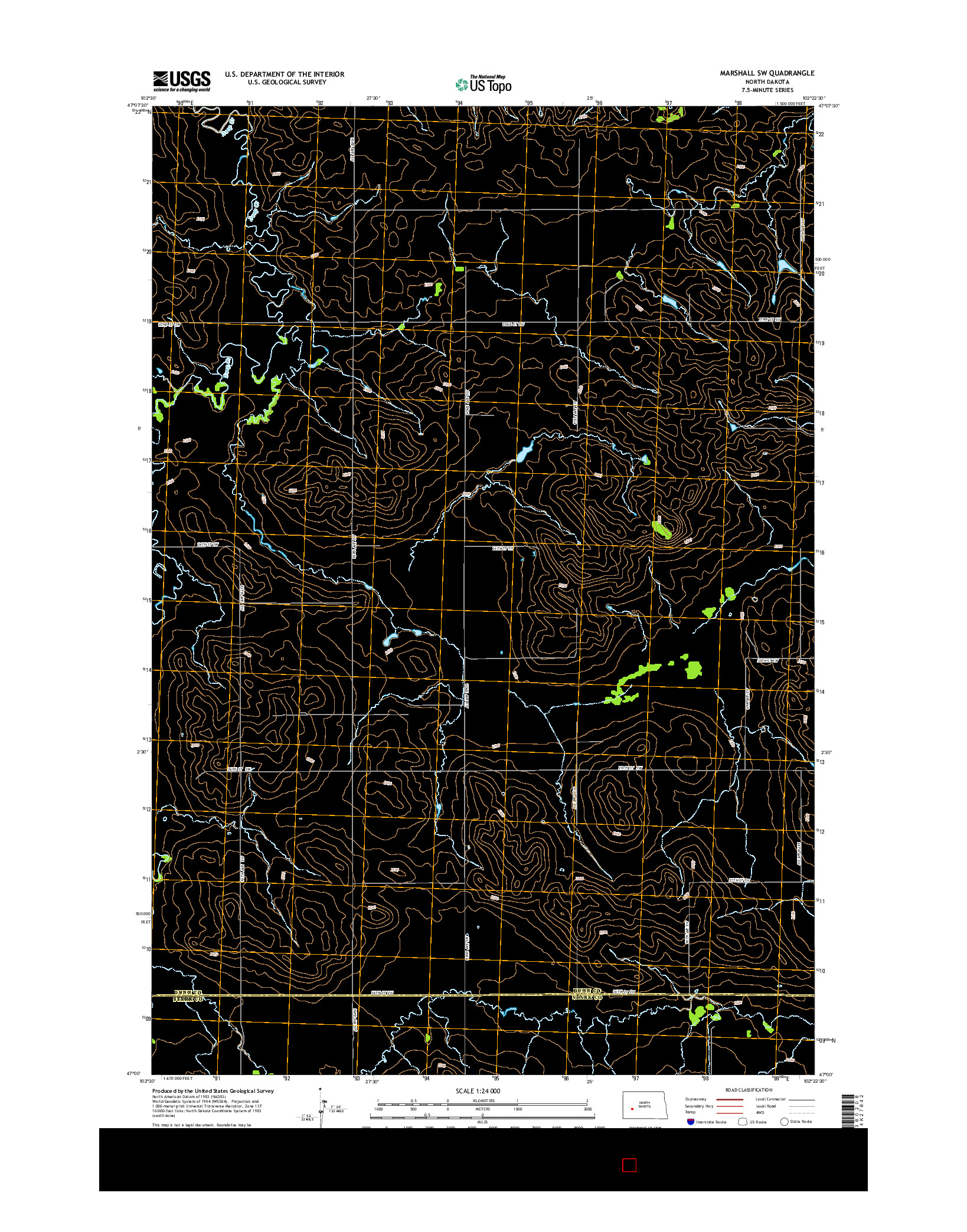 USGS US TOPO 7.5-MINUTE MAP FOR MARSHALL SW, ND 2014