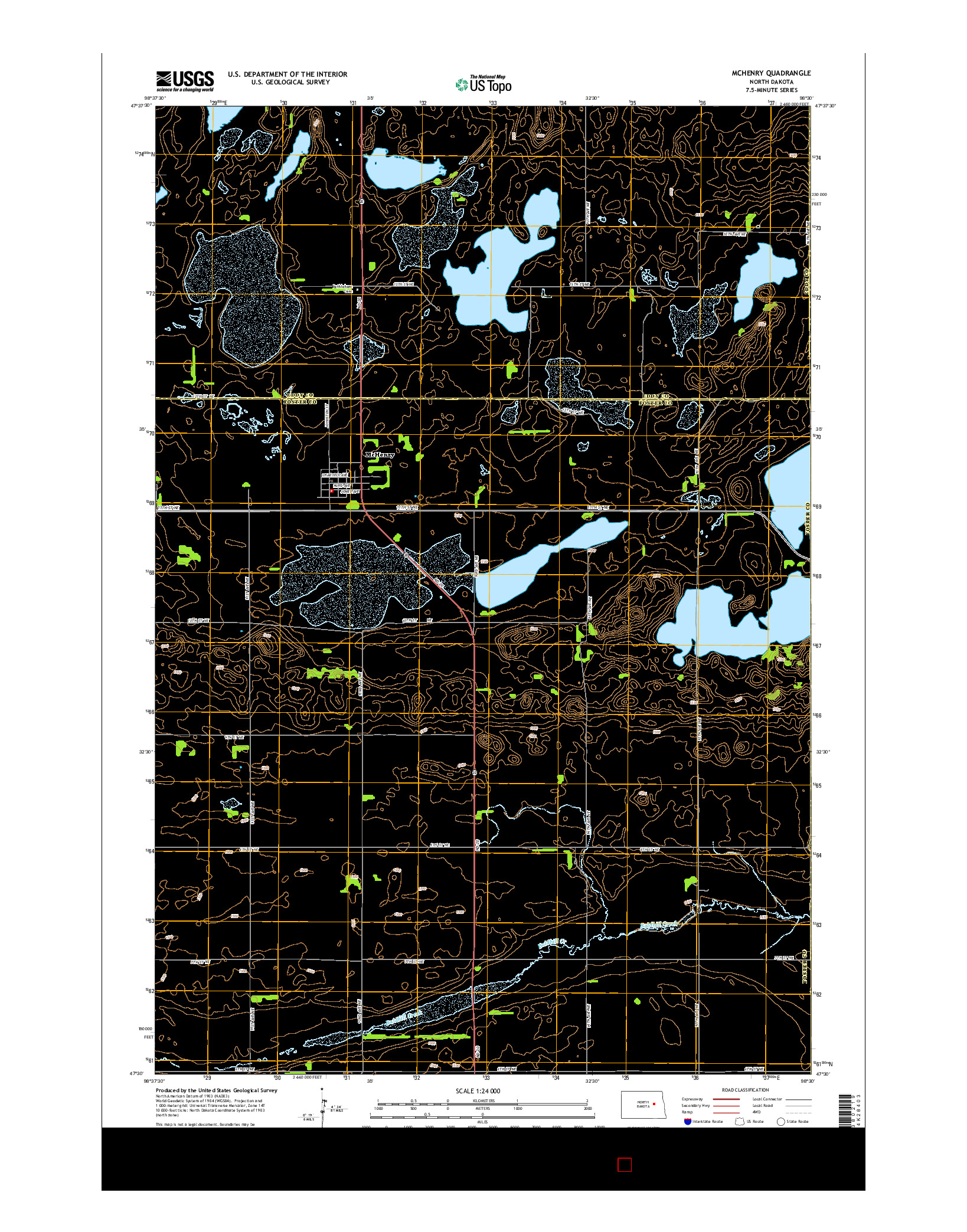 USGS US TOPO 7.5-MINUTE MAP FOR MCHENRY, ND 2014