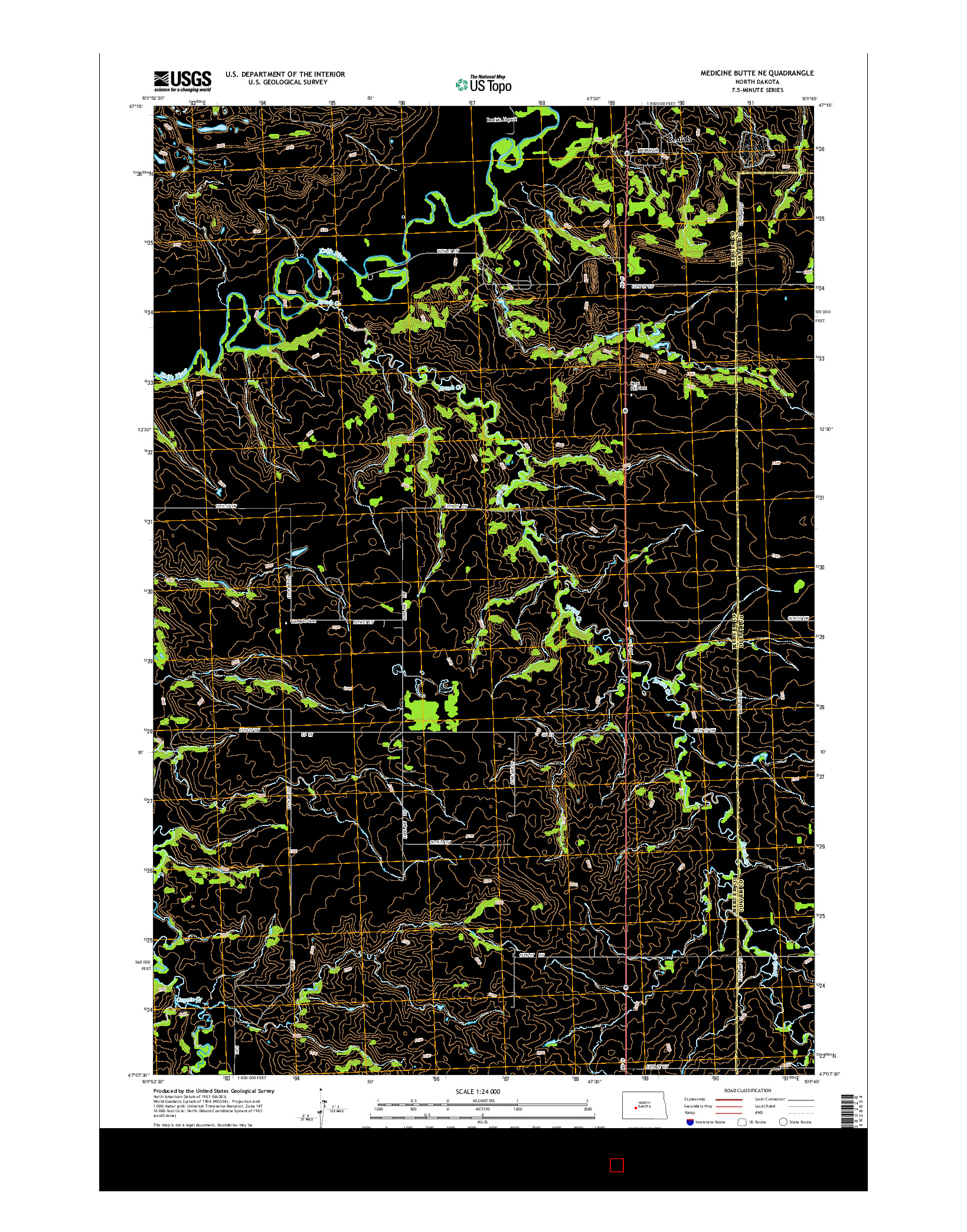 USGS US TOPO 7.5-MINUTE MAP FOR MEDICINE BUTTE NE, ND 2014