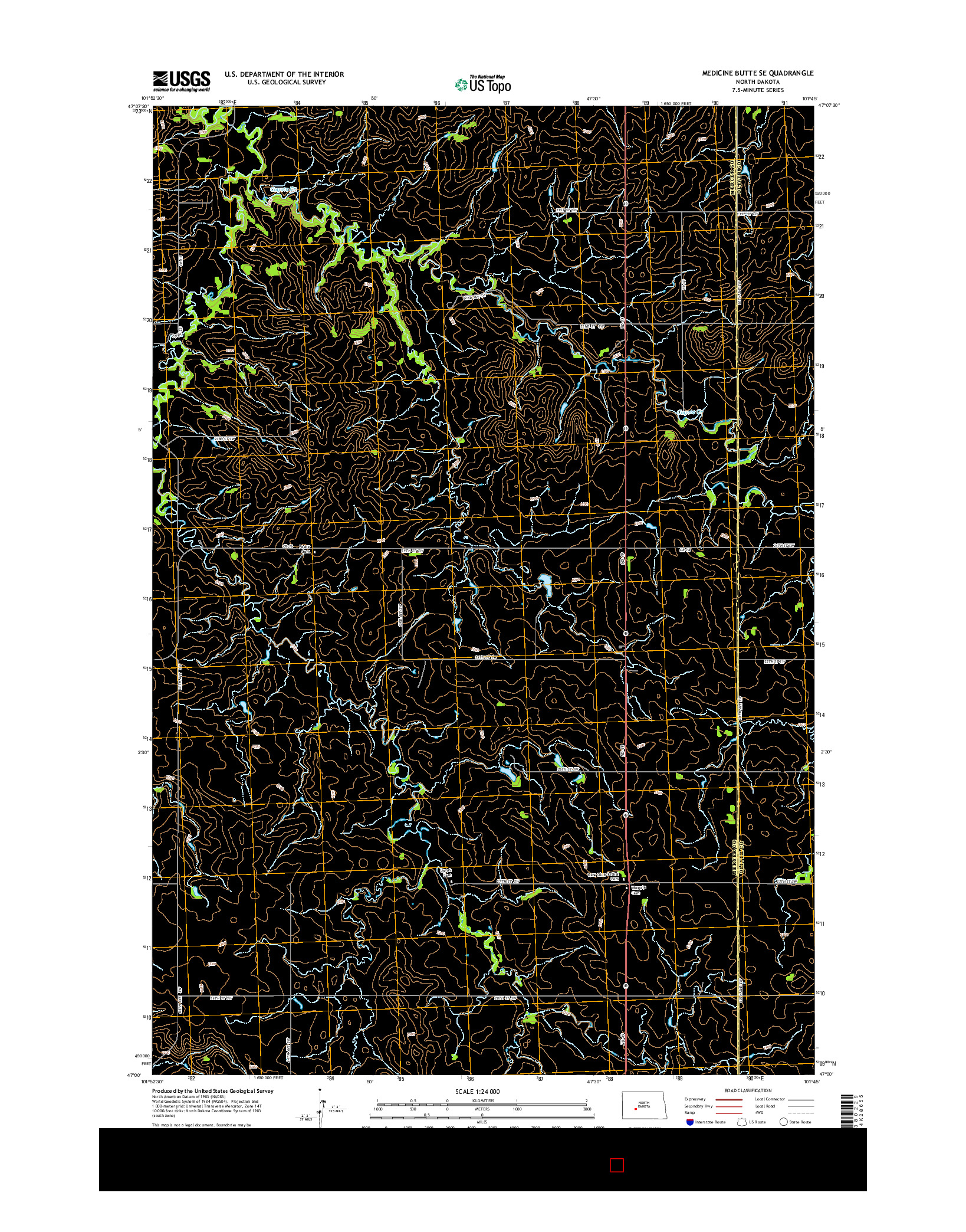 USGS US TOPO 7.5-MINUTE MAP FOR MEDICINE BUTTE SE, ND 2014