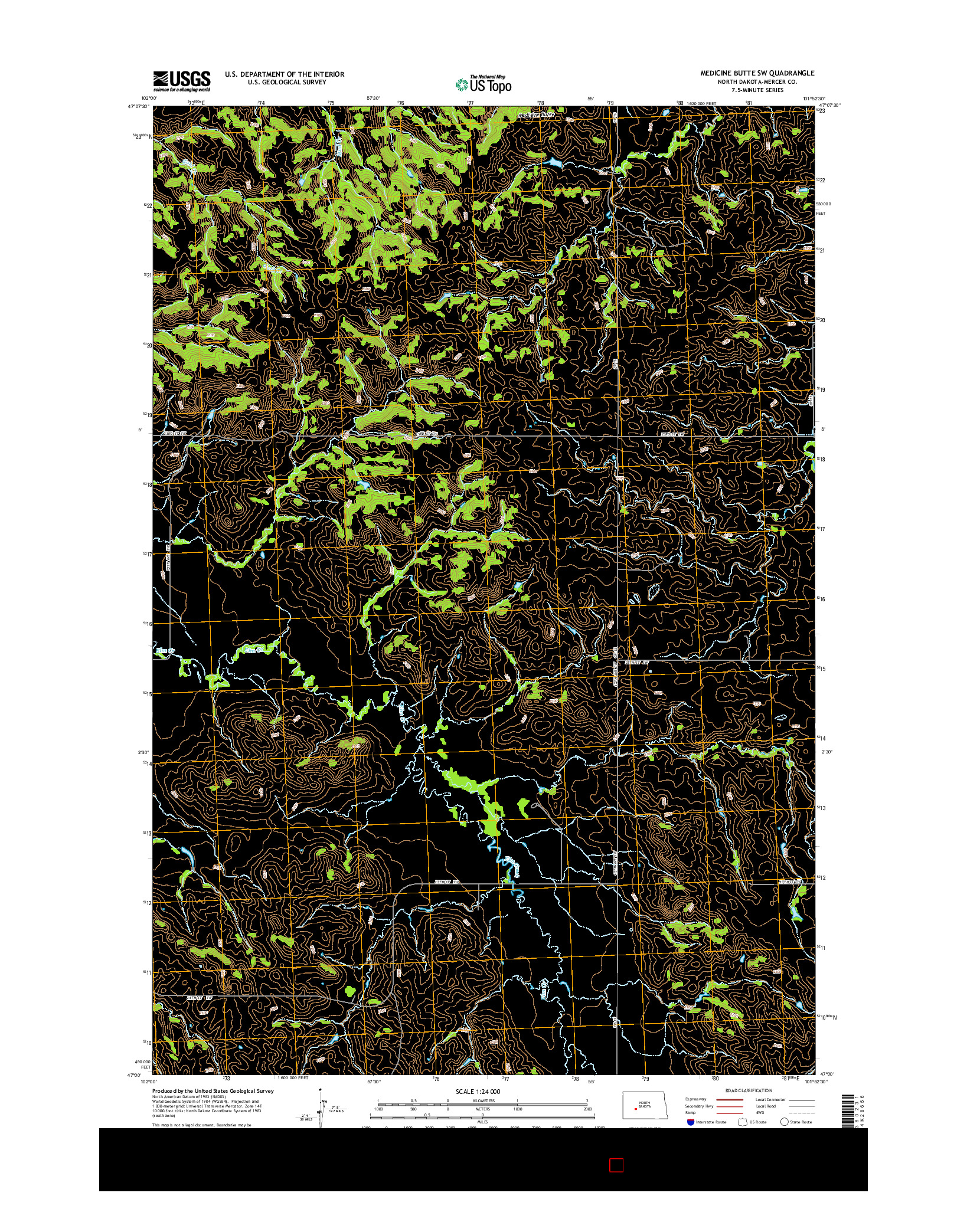 USGS US TOPO 7.5-MINUTE MAP FOR MEDICINE BUTTE SW, ND 2014