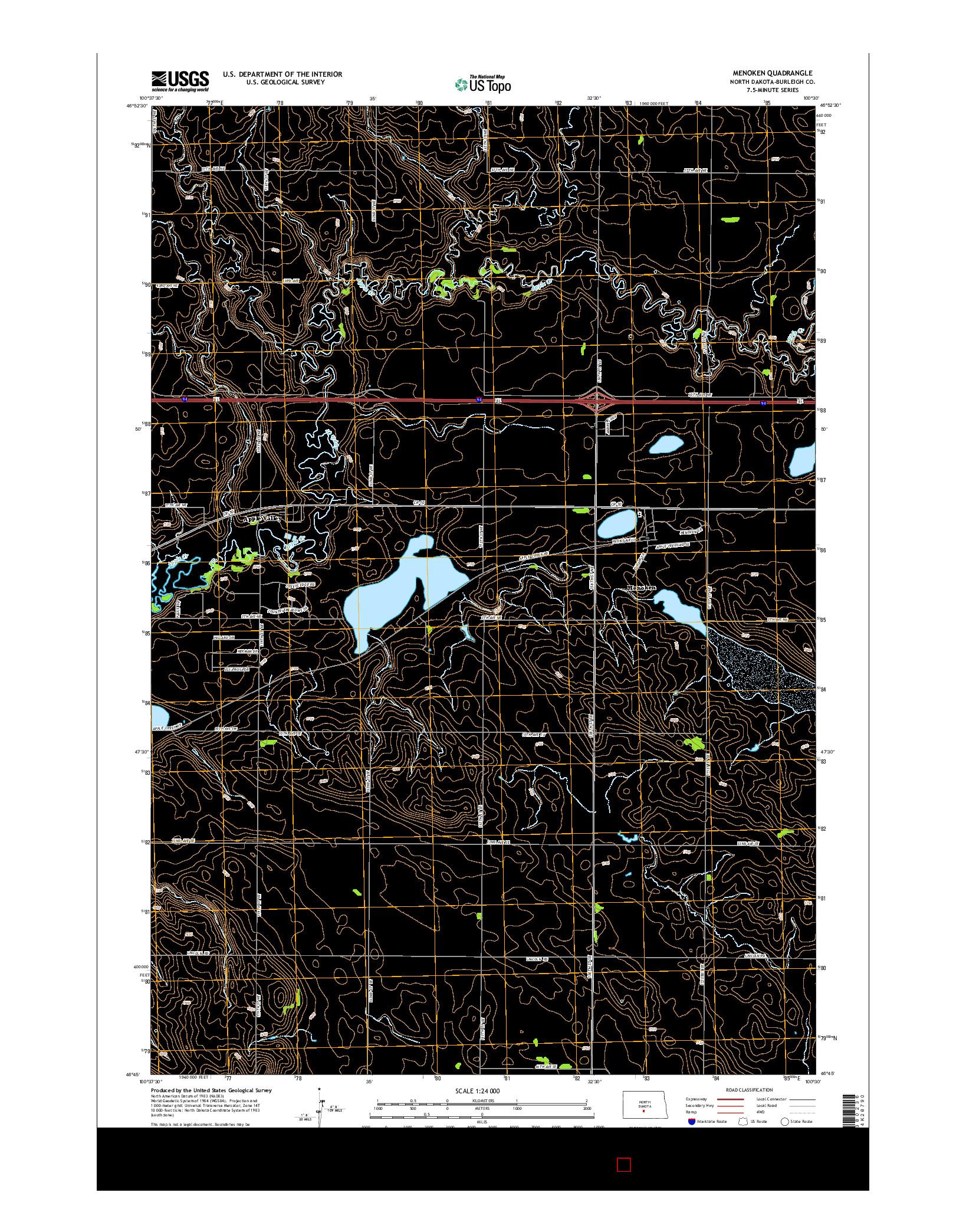 USGS US TOPO 7.5-MINUTE MAP FOR MENOKEN, ND 2014