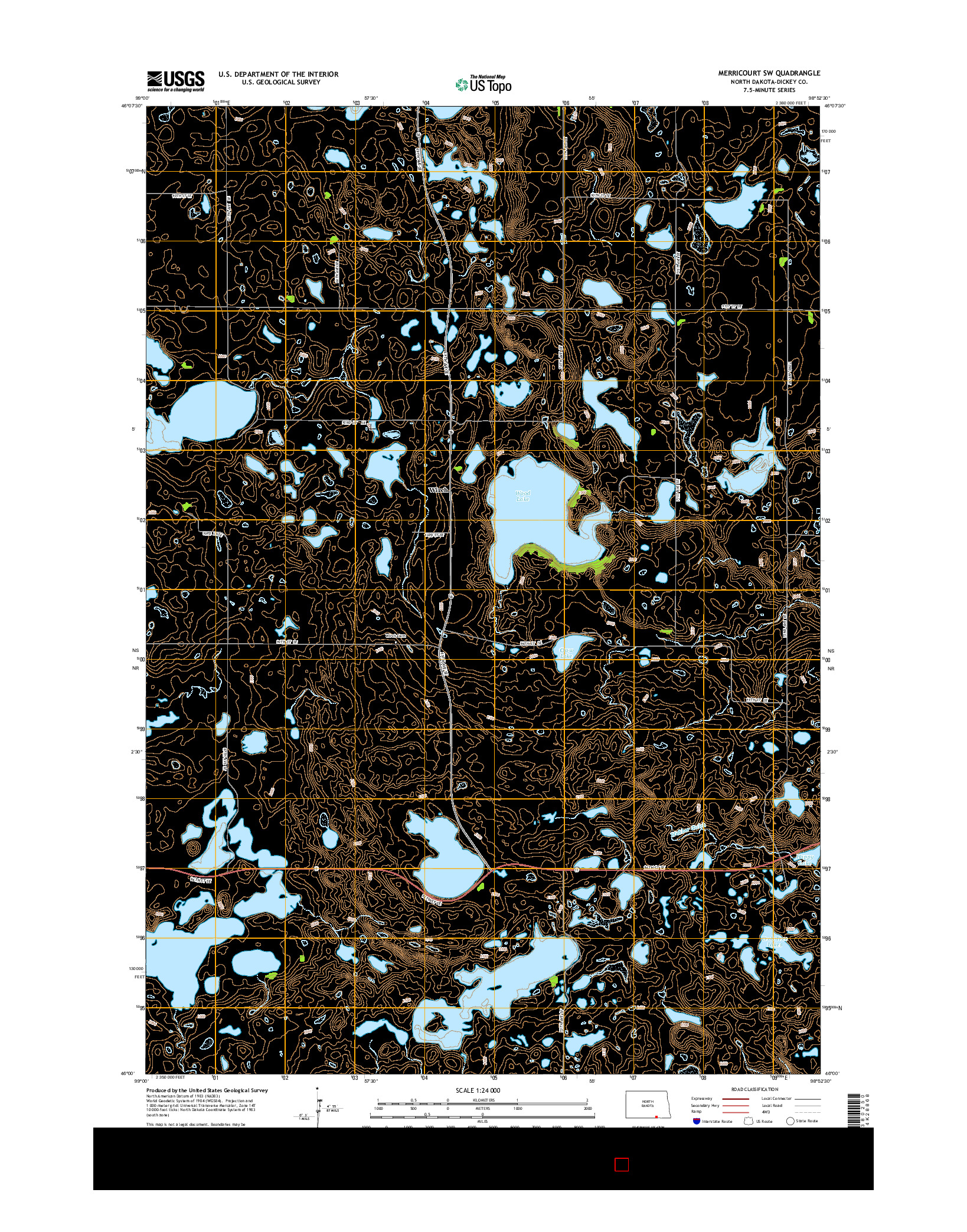 USGS US TOPO 7.5-MINUTE MAP FOR MERRICOURT SW, ND 2014