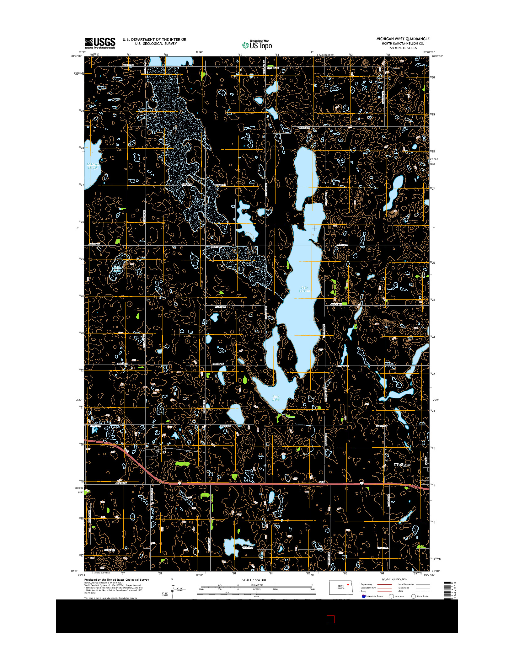 USGS US TOPO 7.5-MINUTE MAP FOR MICHIGAN WEST, ND 2014