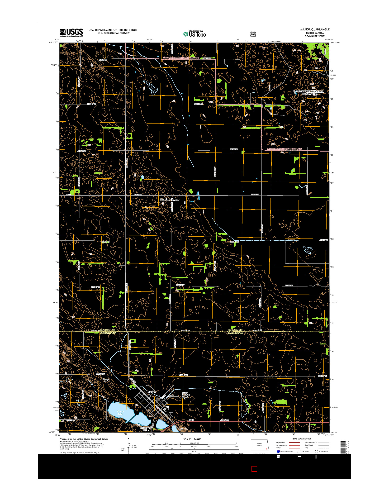 USGS US TOPO 7.5-MINUTE MAP FOR MILNOR, ND 2014