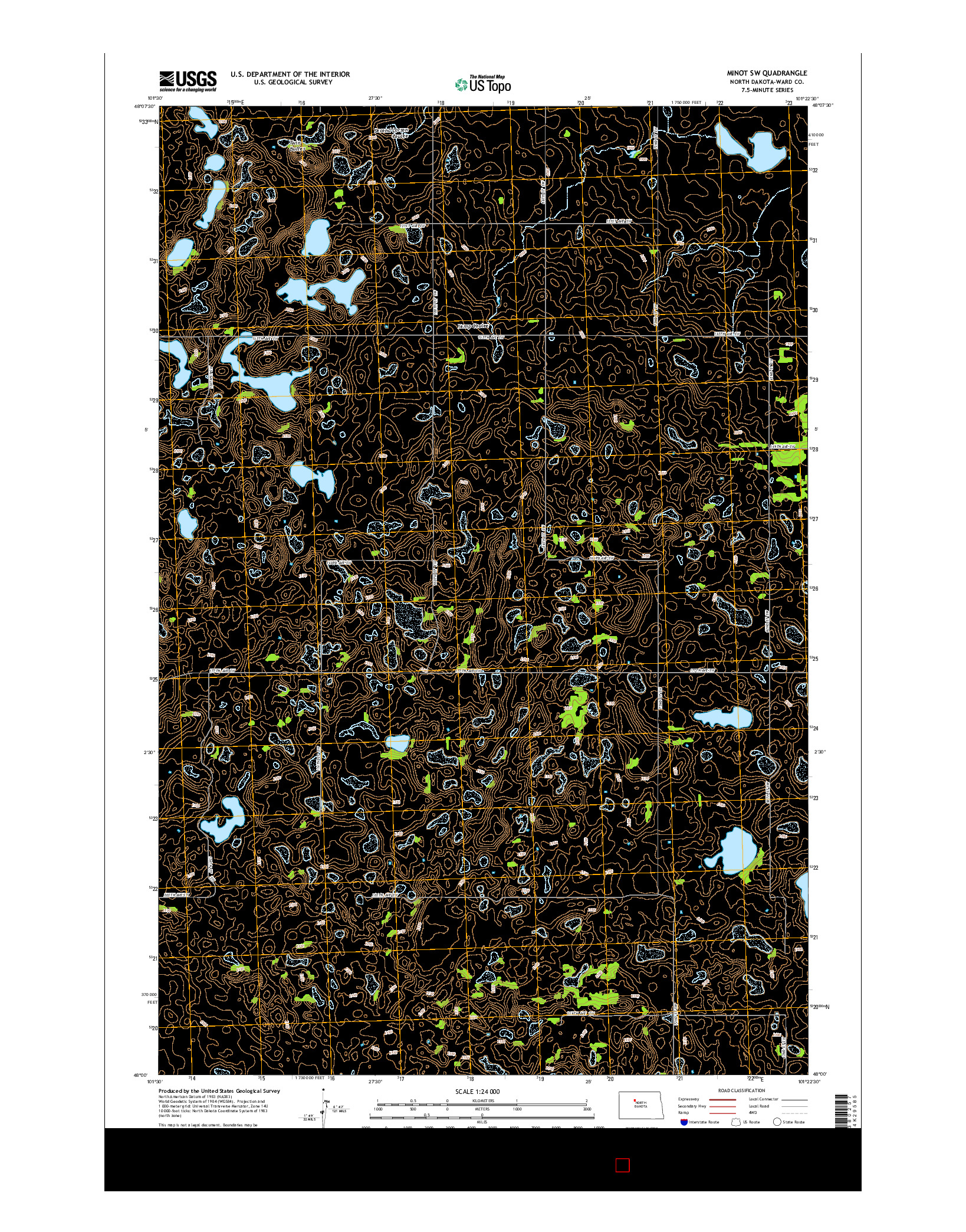 USGS US TOPO 7.5-MINUTE MAP FOR MINOT SW, ND 2014