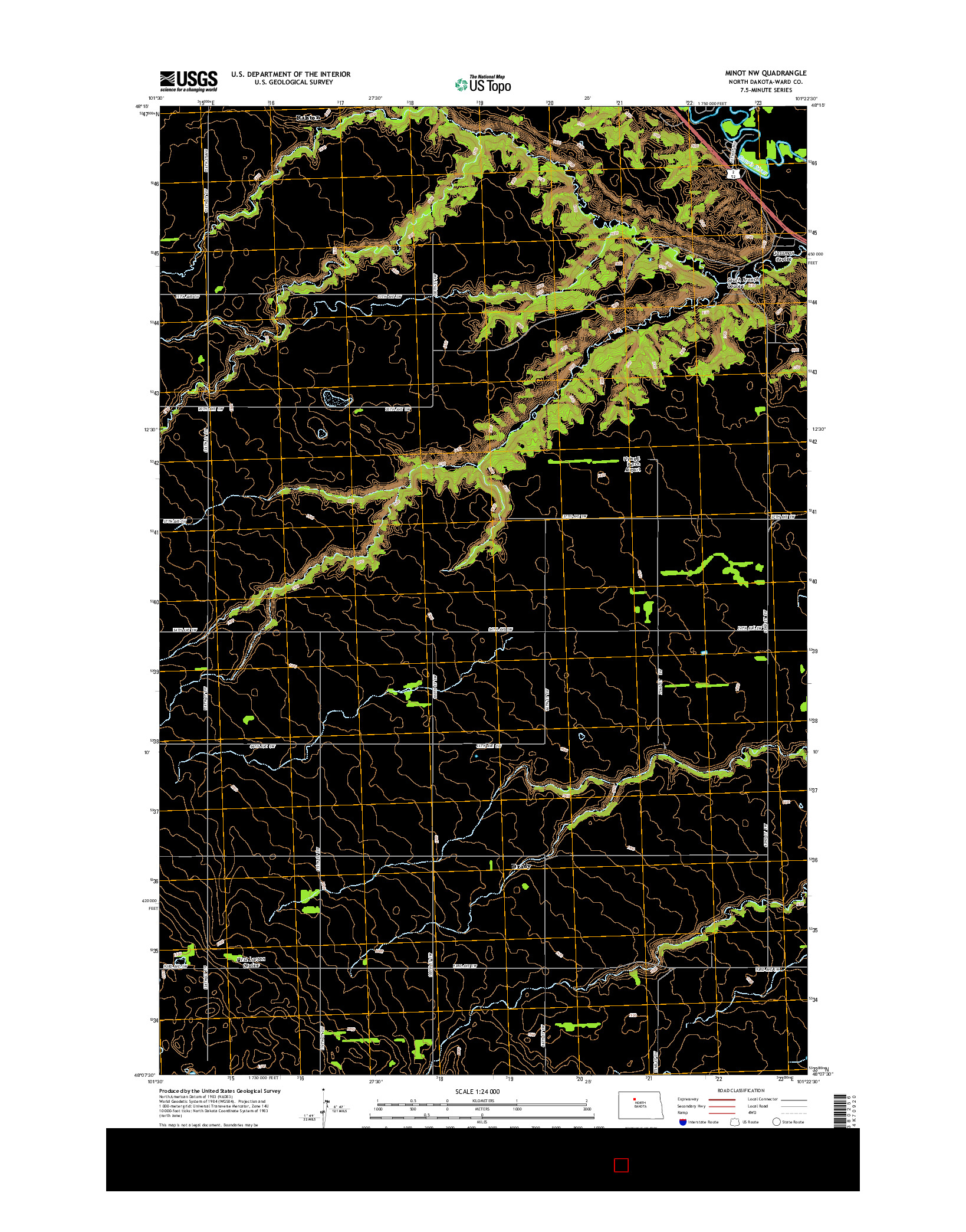USGS US TOPO 7.5-MINUTE MAP FOR MINOT NW, ND 2014