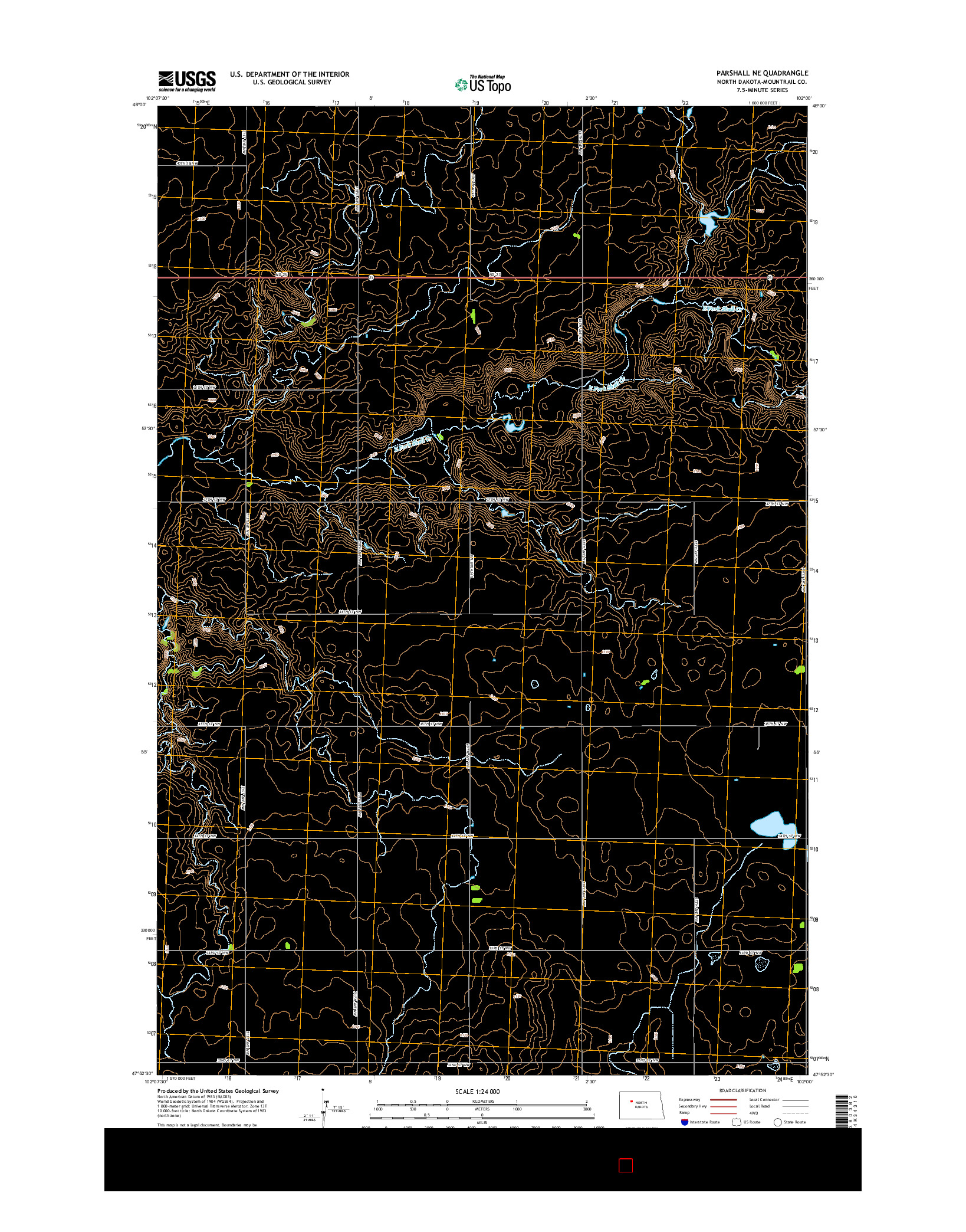 USGS US TOPO 7.5-MINUTE MAP FOR PARSHALL NE, ND 2014