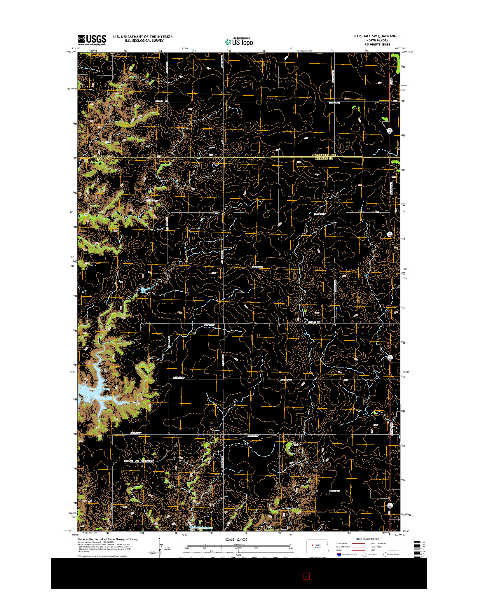 USGS US TOPO 7.5-MINUTE MAP FOR PARSHALL SW, ND 2014