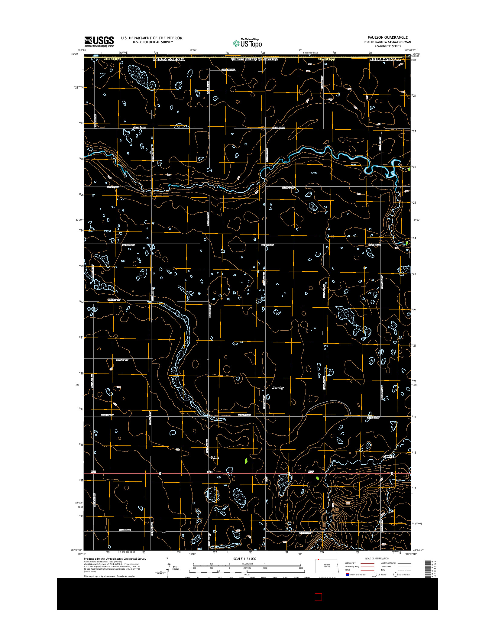 USGS US TOPO 7.5-MINUTE MAP FOR PAULSON, ND-SK 2014