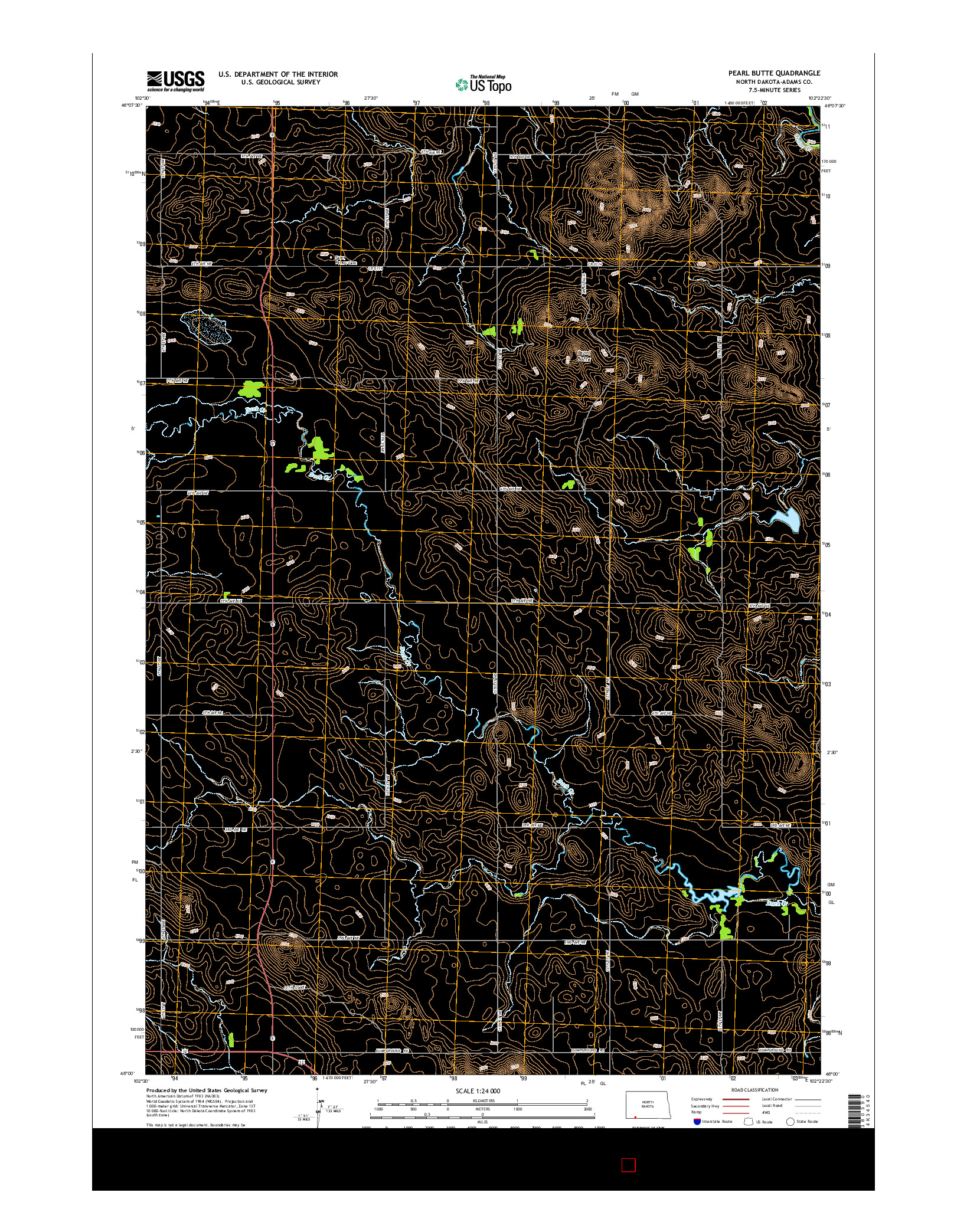 USGS US TOPO 7.5-MINUTE MAP FOR PEARL BUTTE, ND 2014