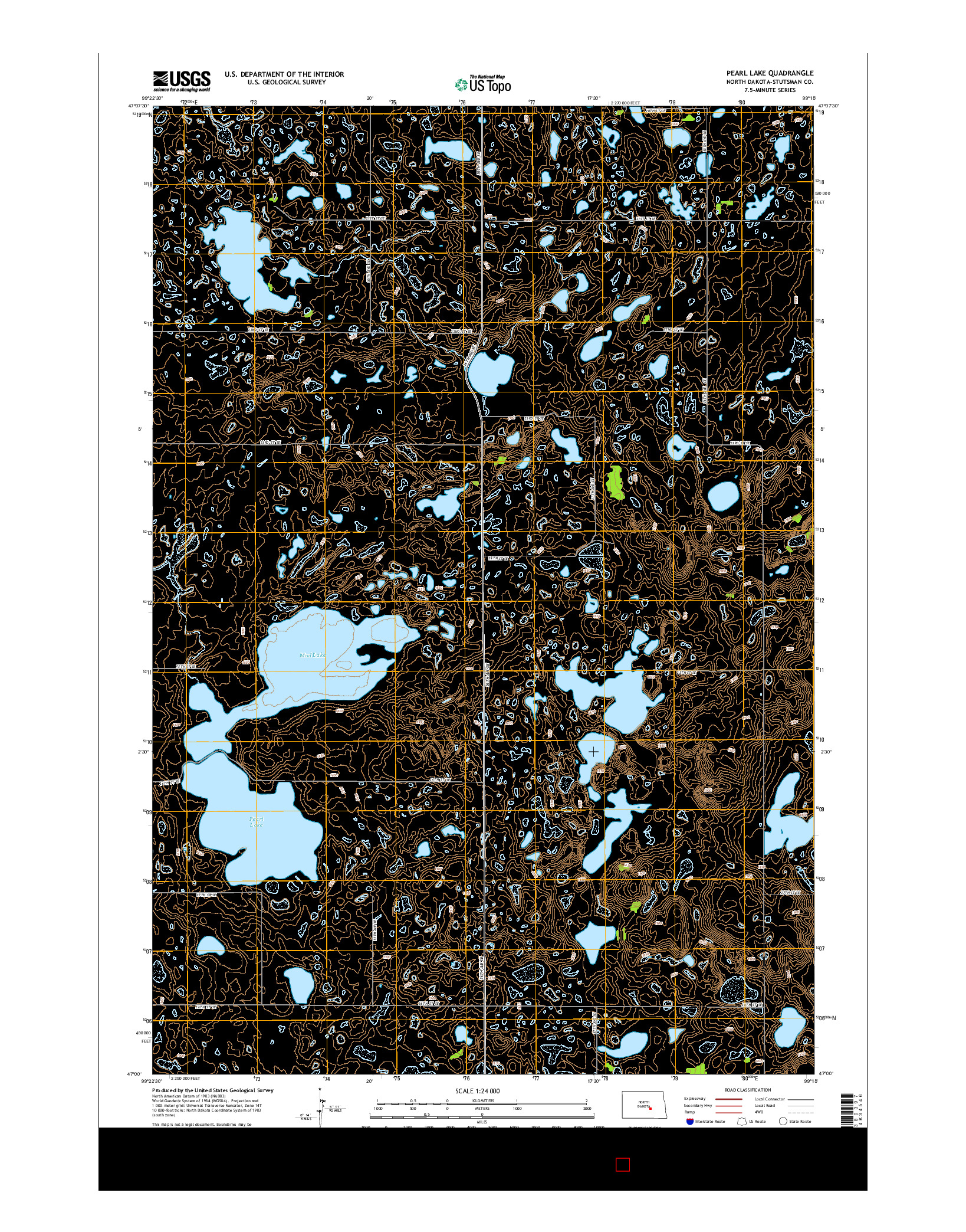 USGS US TOPO 7.5-MINUTE MAP FOR PEARL LAKE, ND 2014