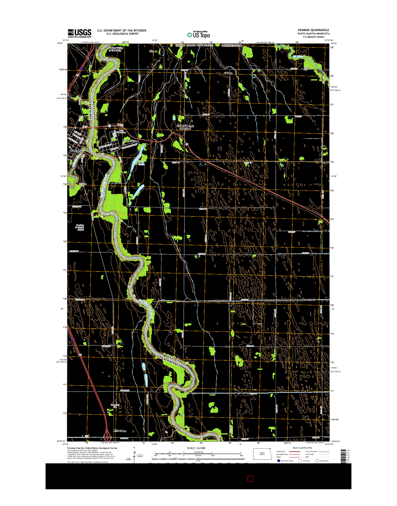 USGS US TOPO 7.5-MINUTE MAP FOR PEMBINA, ND-MN 2014