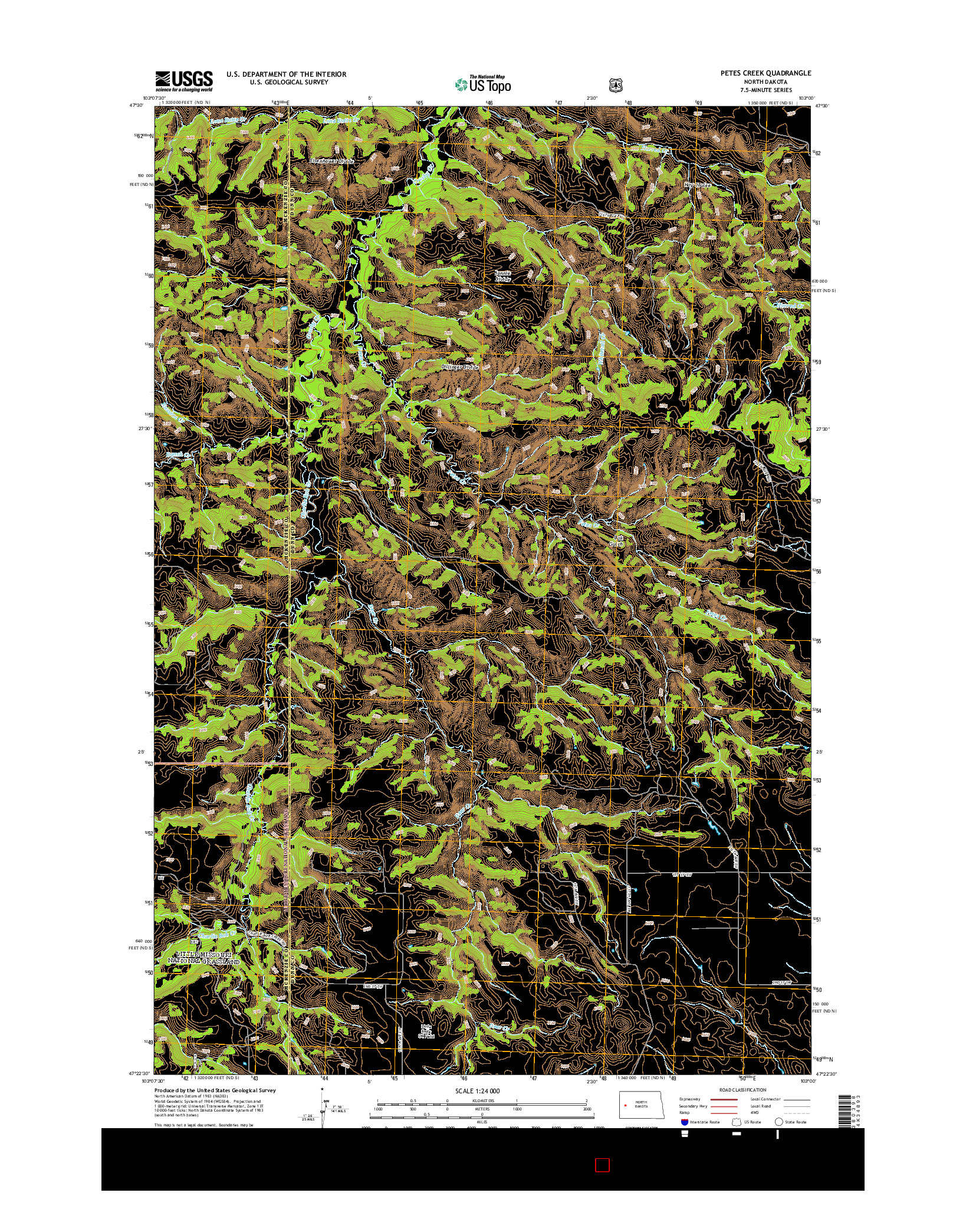 USGS US TOPO 7.5-MINUTE MAP FOR PETES CREEK, ND 2014