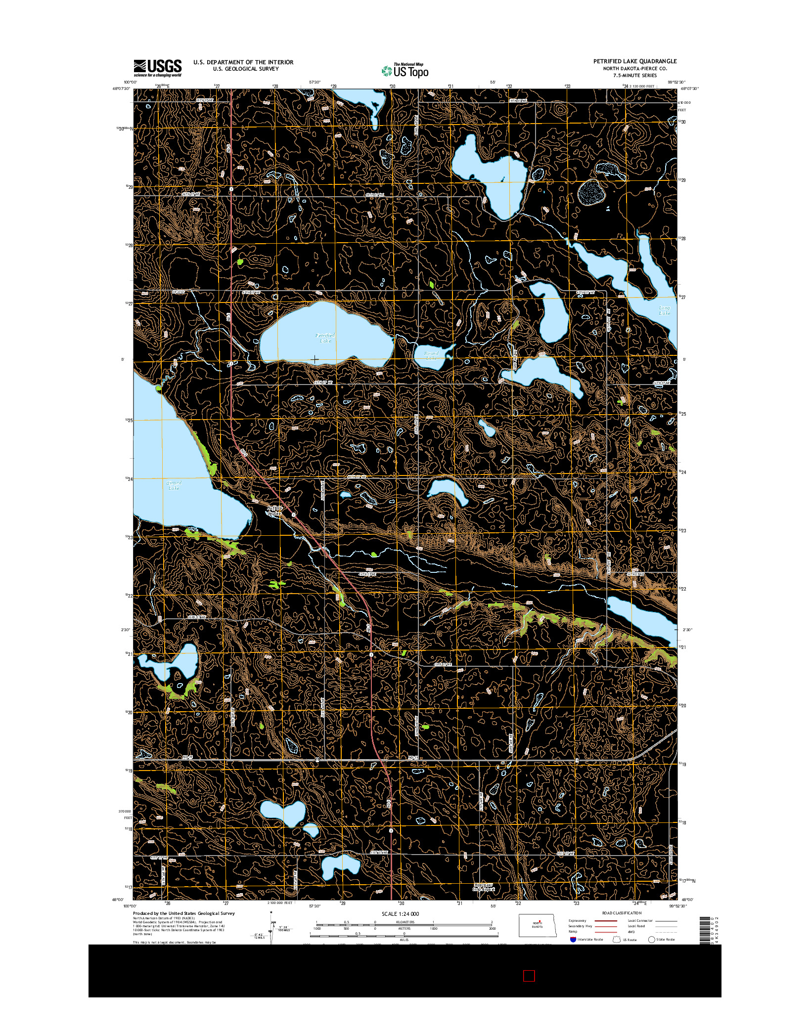 USGS US TOPO 7.5-MINUTE MAP FOR PETRIFIED LAKE, ND 2014