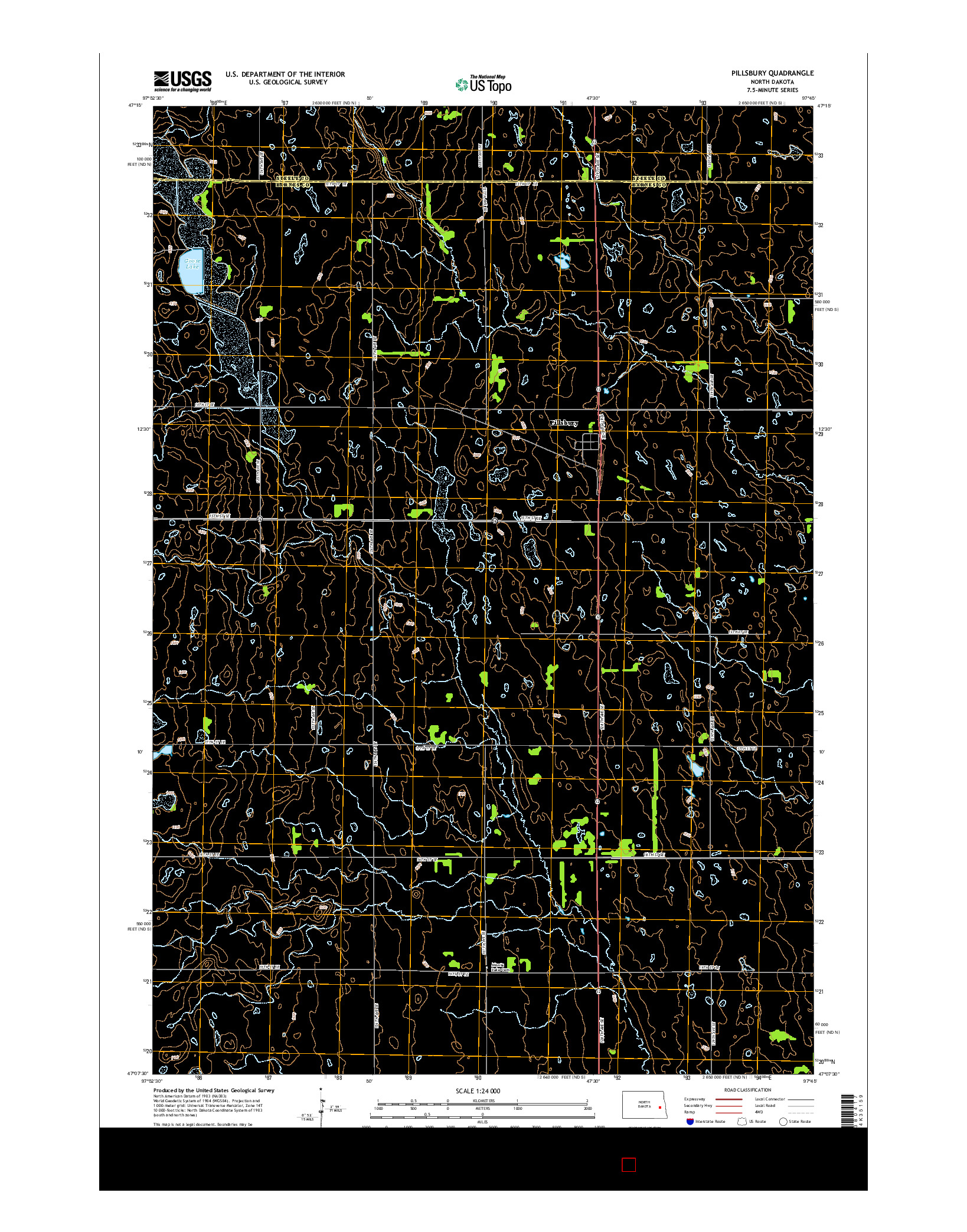 USGS US TOPO 7.5-MINUTE MAP FOR PILLSBURY, ND 2014
