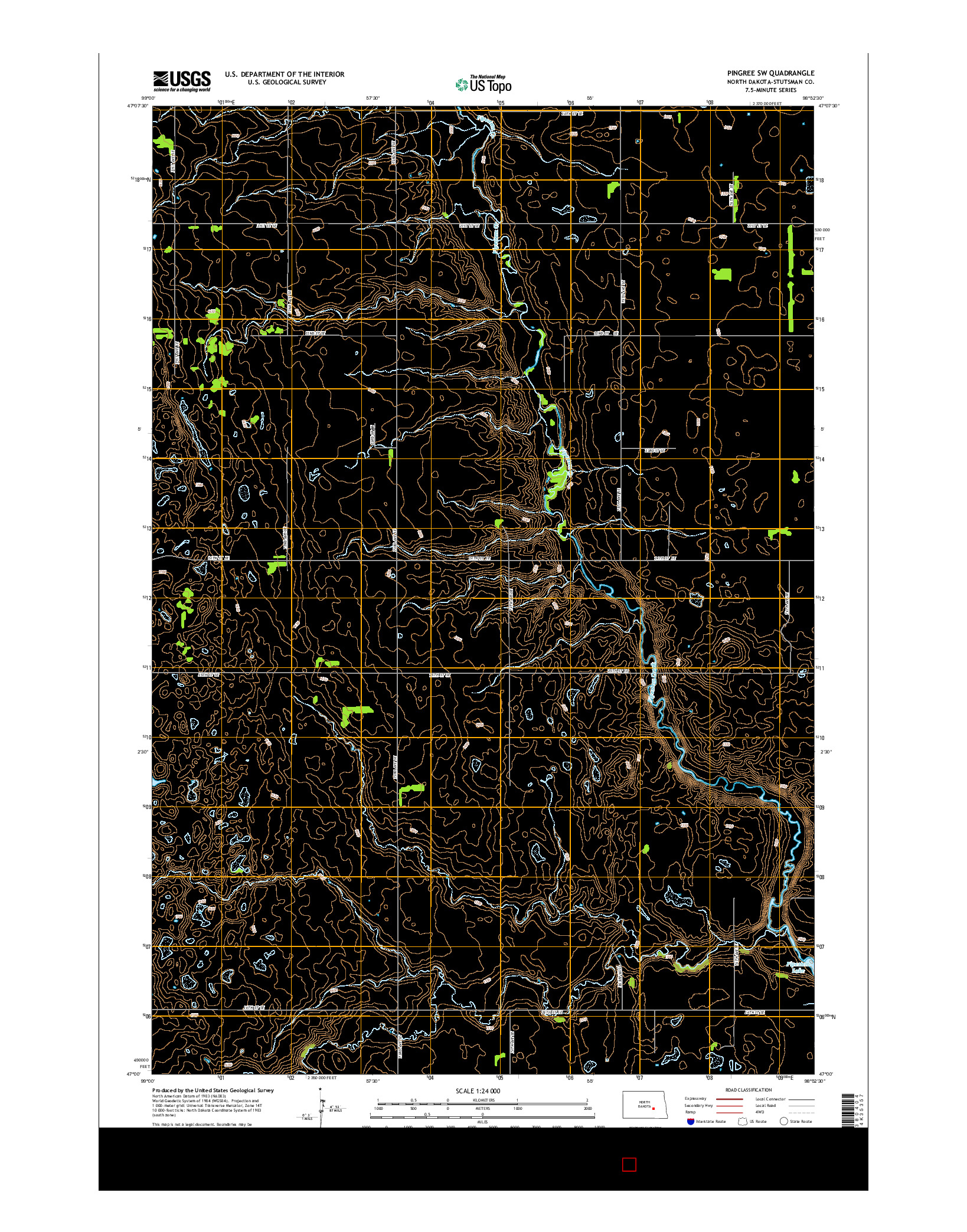 USGS US TOPO 7.5-MINUTE MAP FOR PINGREE SW, ND 2014