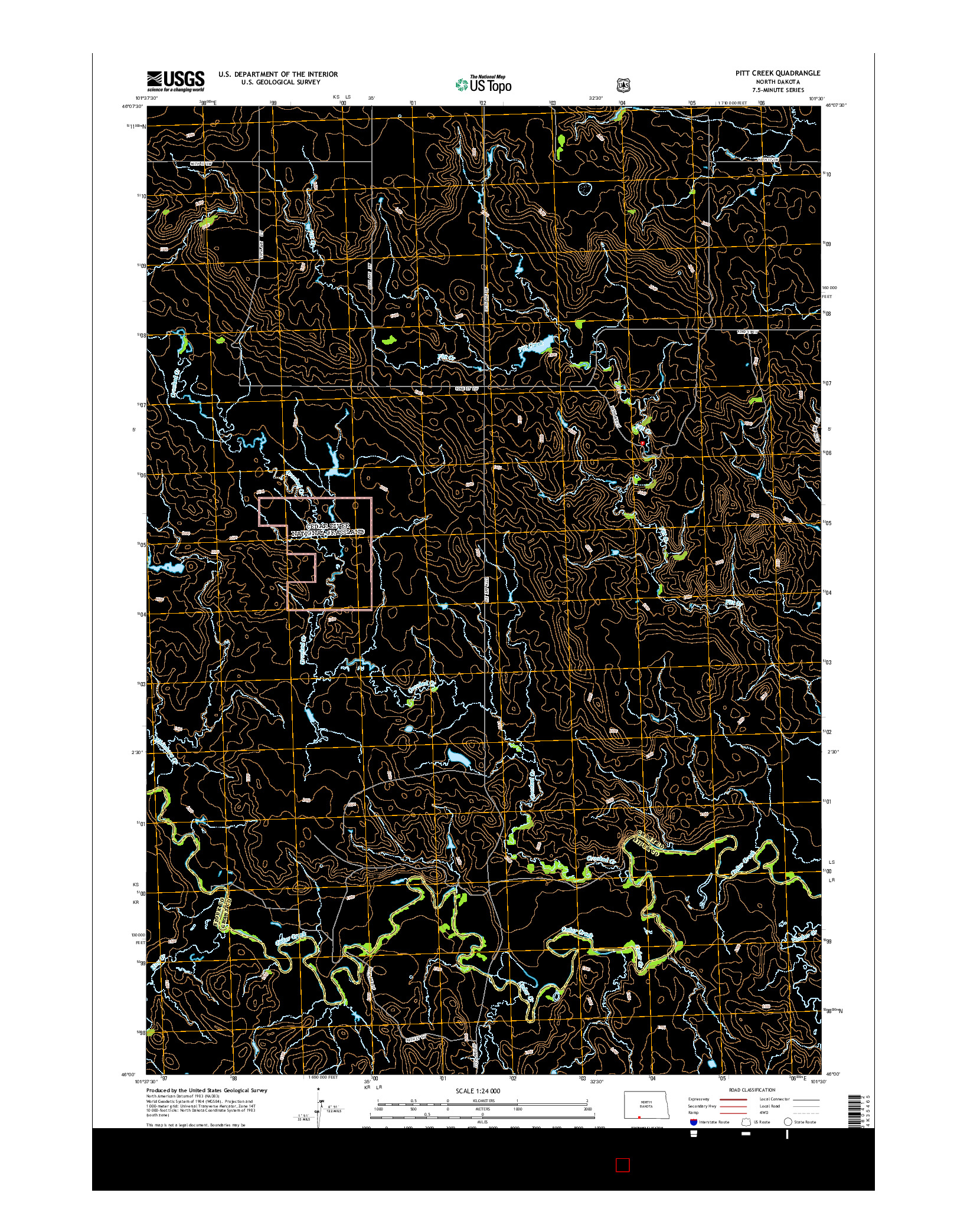 USGS US TOPO 7.5-MINUTE MAP FOR PITT CREEK, ND 2014