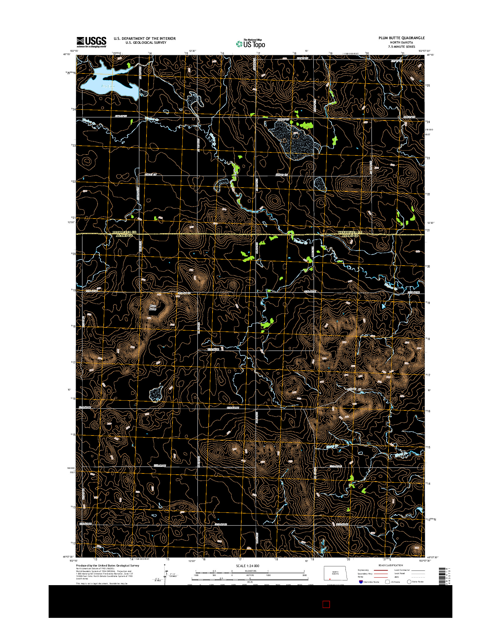 USGS US TOPO 7.5-MINUTE MAP FOR PLUM BUTTE, ND 2014