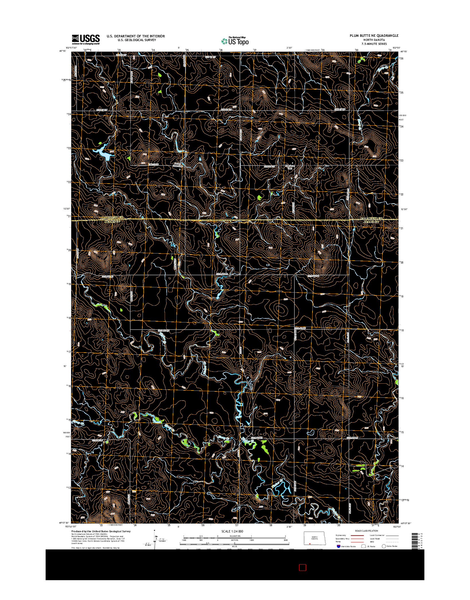 USGS US TOPO 7.5-MINUTE MAP FOR PLUM BUTTE NE, ND 2014