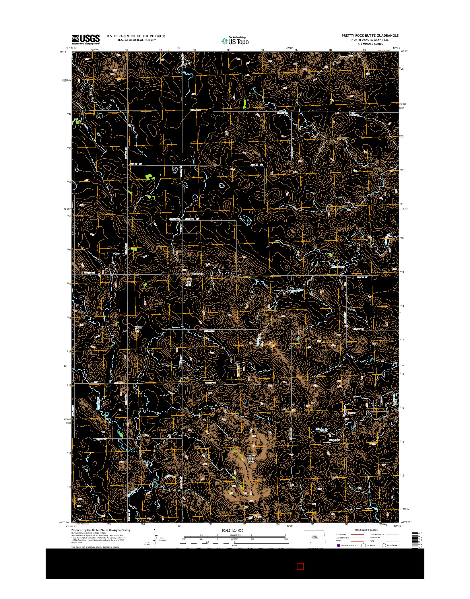 USGS US TOPO 7.5-MINUTE MAP FOR PRETTY ROCK BUTTE, ND 2014