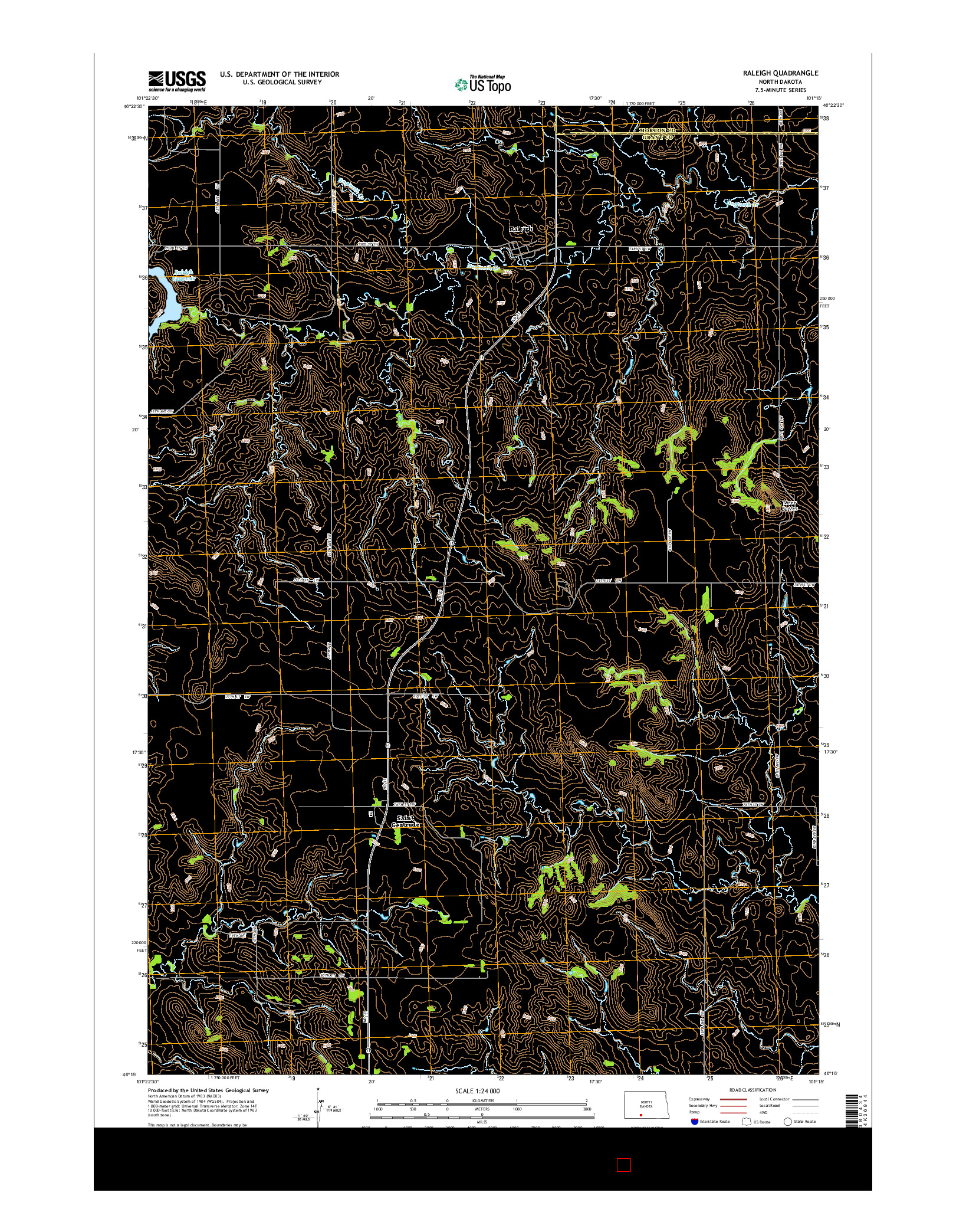 USGS US TOPO 7.5-MINUTE MAP FOR RALEIGH, ND 2014