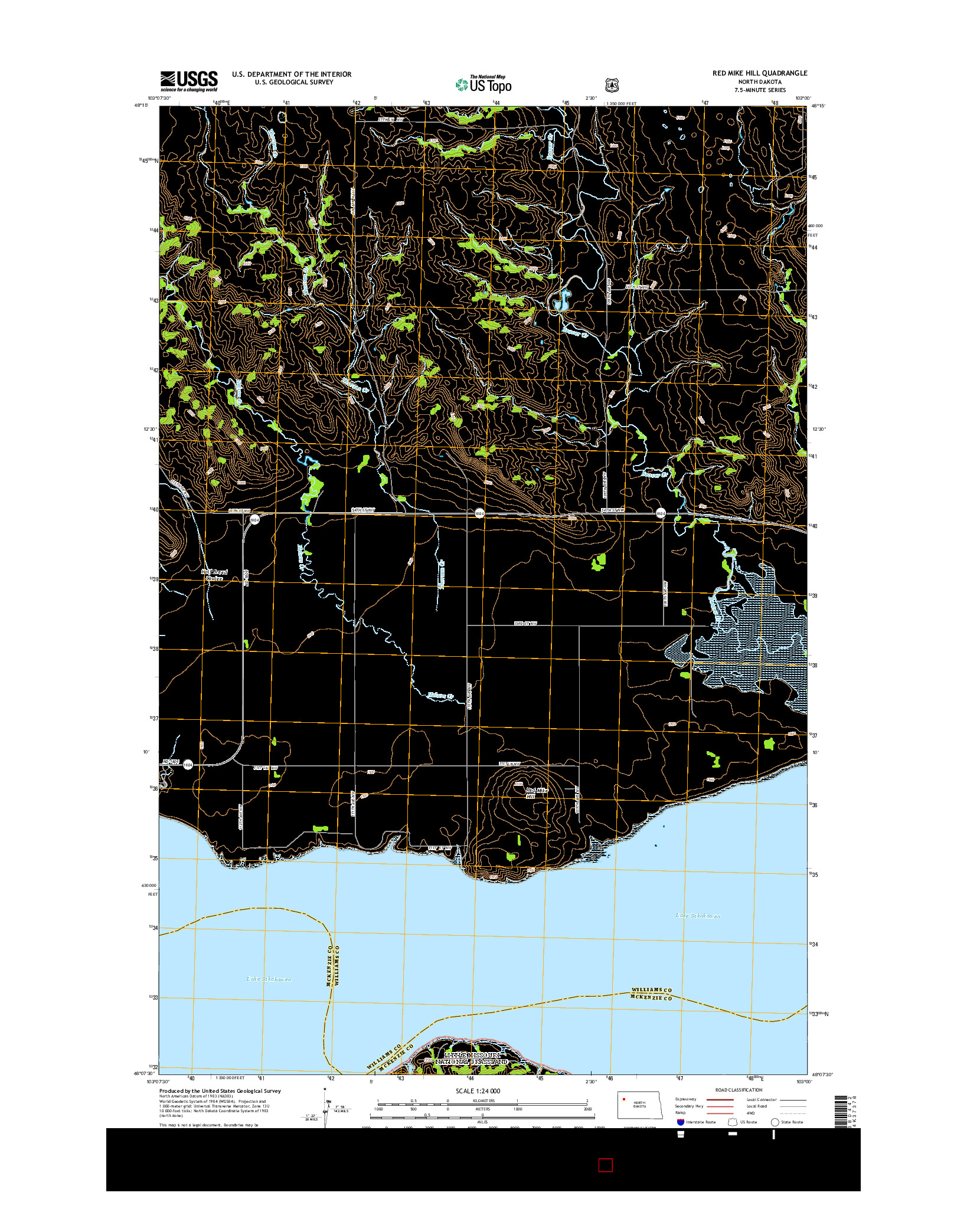 USGS US TOPO 7.5-MINUTE MAP FOR RED MIKE HILL, ND 2014