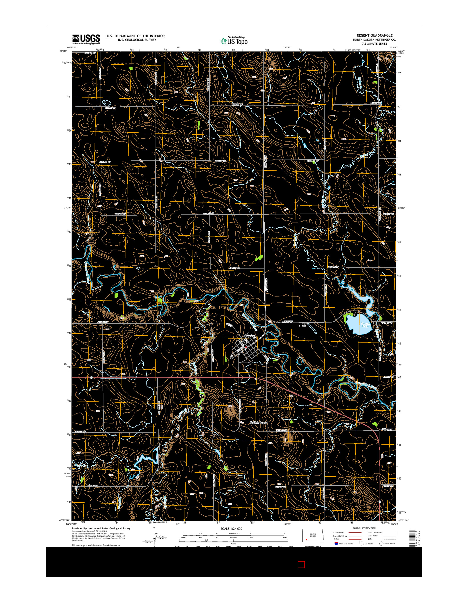 USGS US TOPO 7.5-MINUTE MAP FOR REGENT, ND 2014