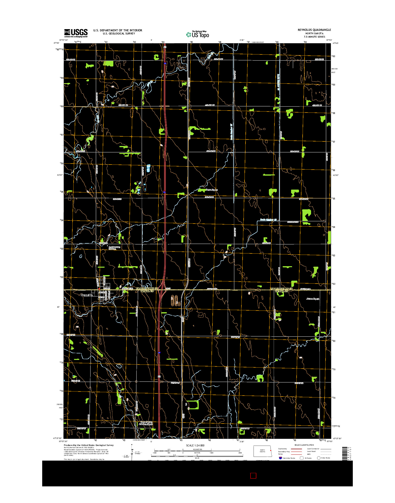 USGS US TOPO 7.5-MINUTE MAP FOR REYNOLDS, ND 2014