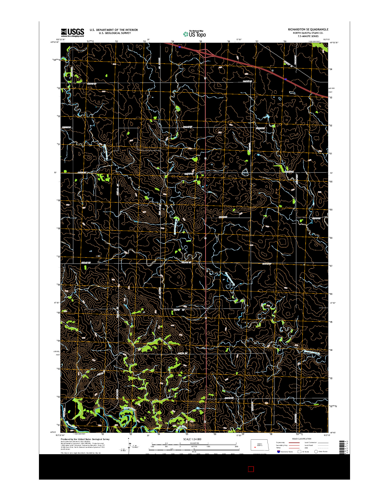 USGS US TOPO 7.5-MINUTE MAP FOR RICHARDTON SE, ND 2014