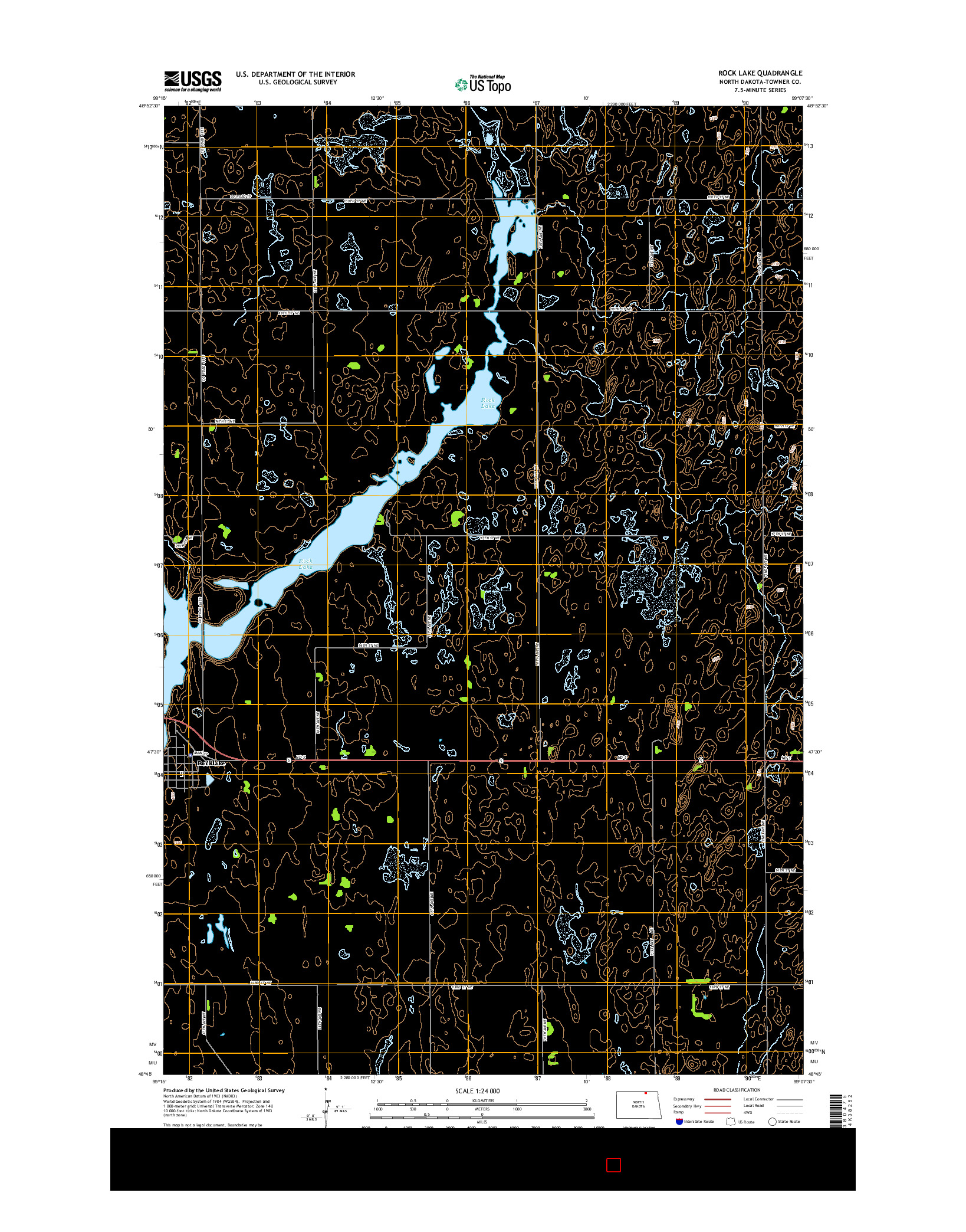 USGS US TOPO 7.5-MINUTE MAP FOR ROCK LAKE, ND 2014