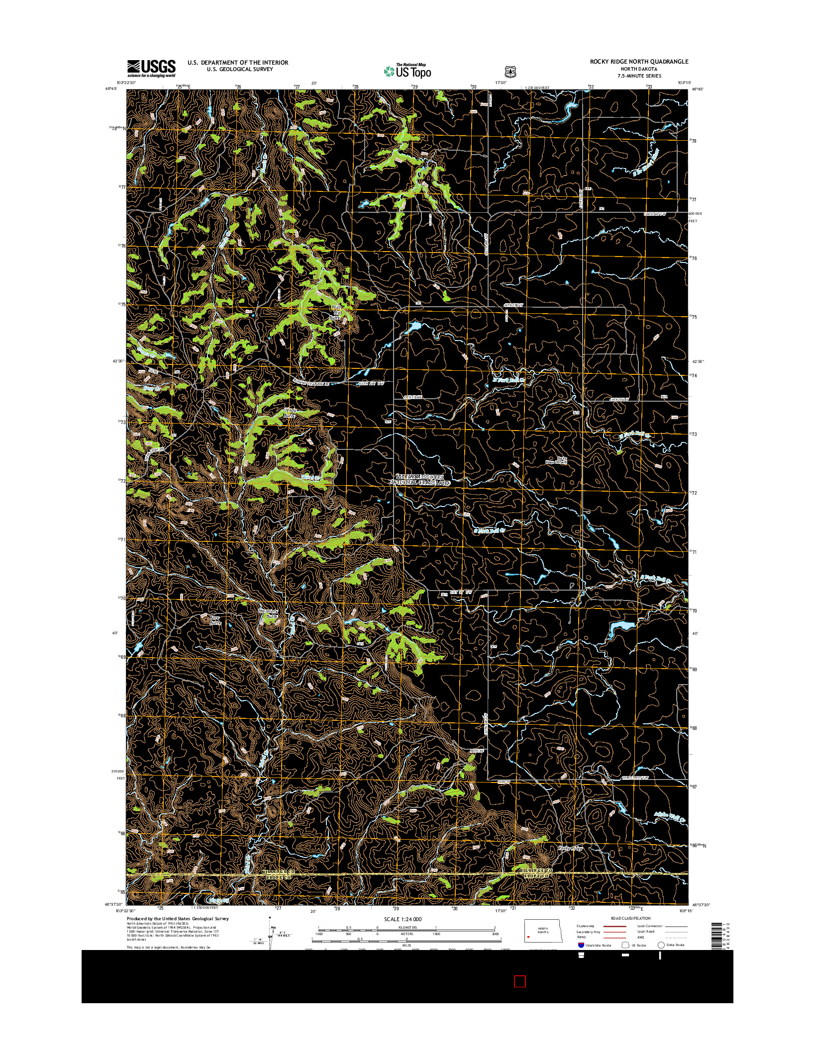 USGS US TOPO 7.5-MINUTE MAP FOR ROCKY RIDGE NORTH, ND 2014