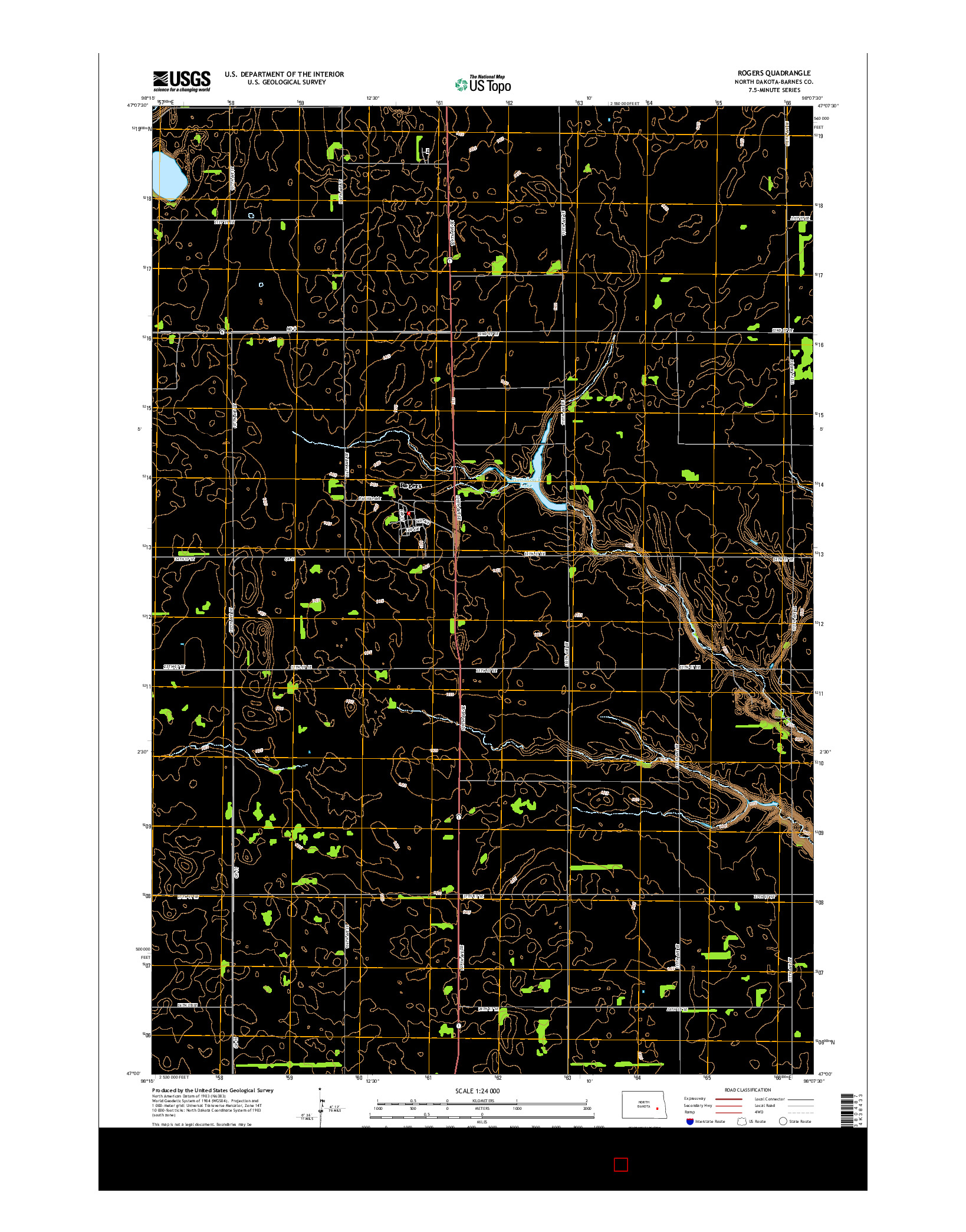 USGS US TOPO 7.5-MINUTE MAP FOR ROGERS, ND 2014