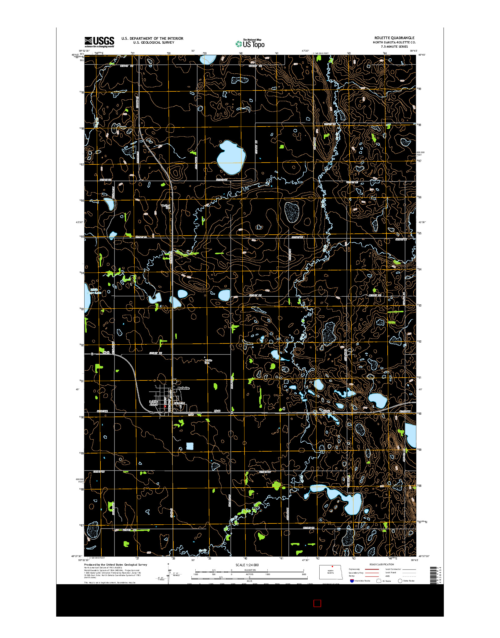 USGS US TOPO 7.5-MINUTE MAP FOR ROLETTE, ND 2014