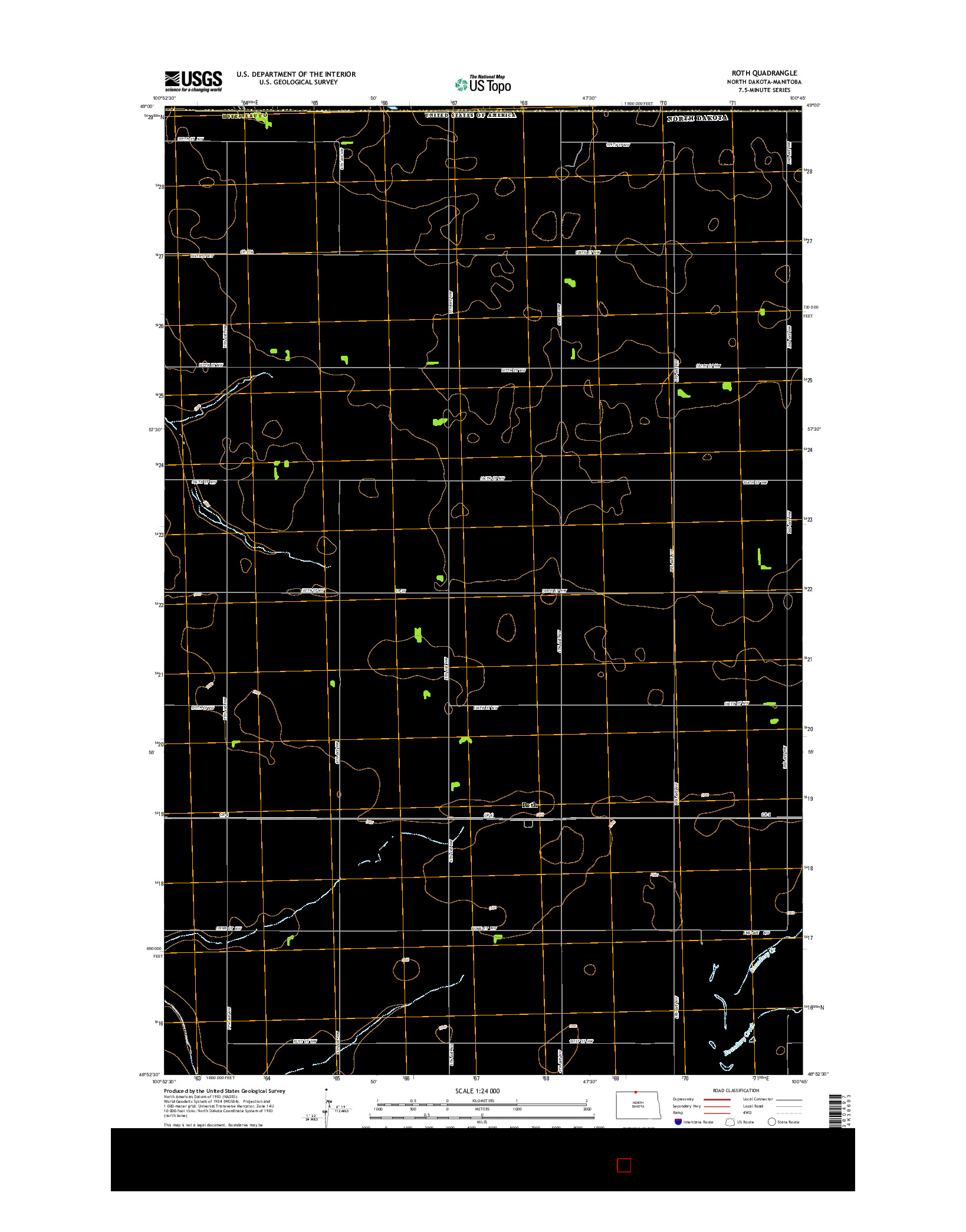 USGS US TOPO 7.5-MINUTE MAP FOR ROTH, ND-MB 2014
