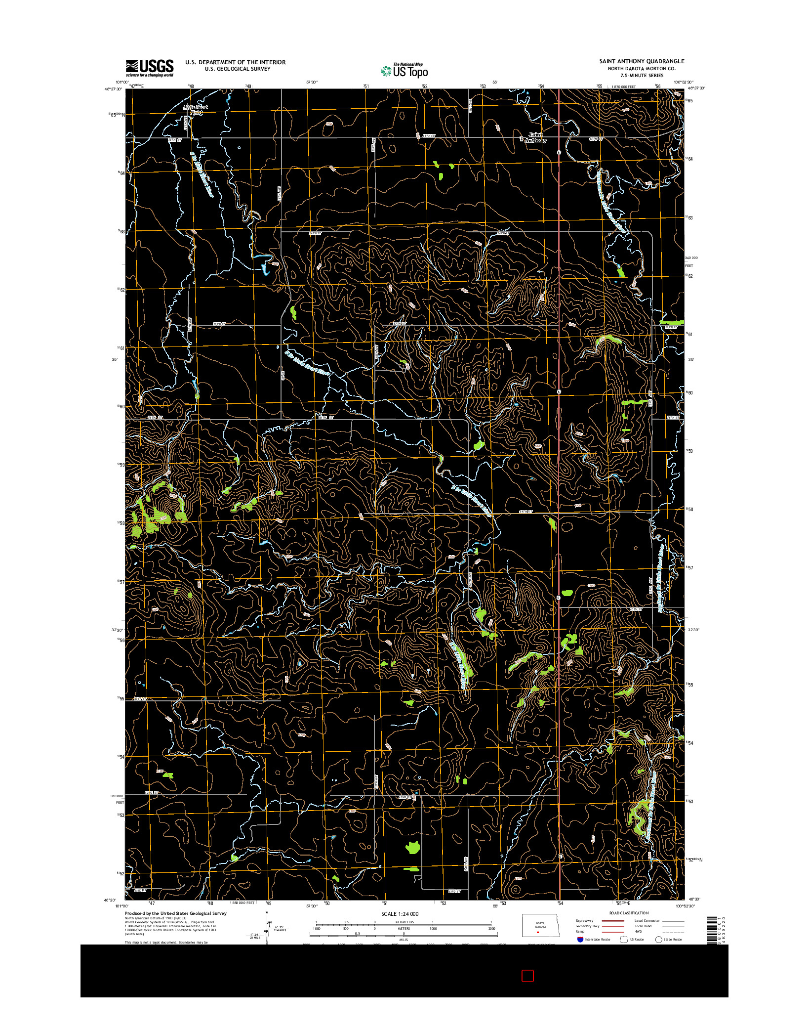USGS US TOPO 7.5-MINUTE MAP FOR SAINT ANTHONY, ND 2014