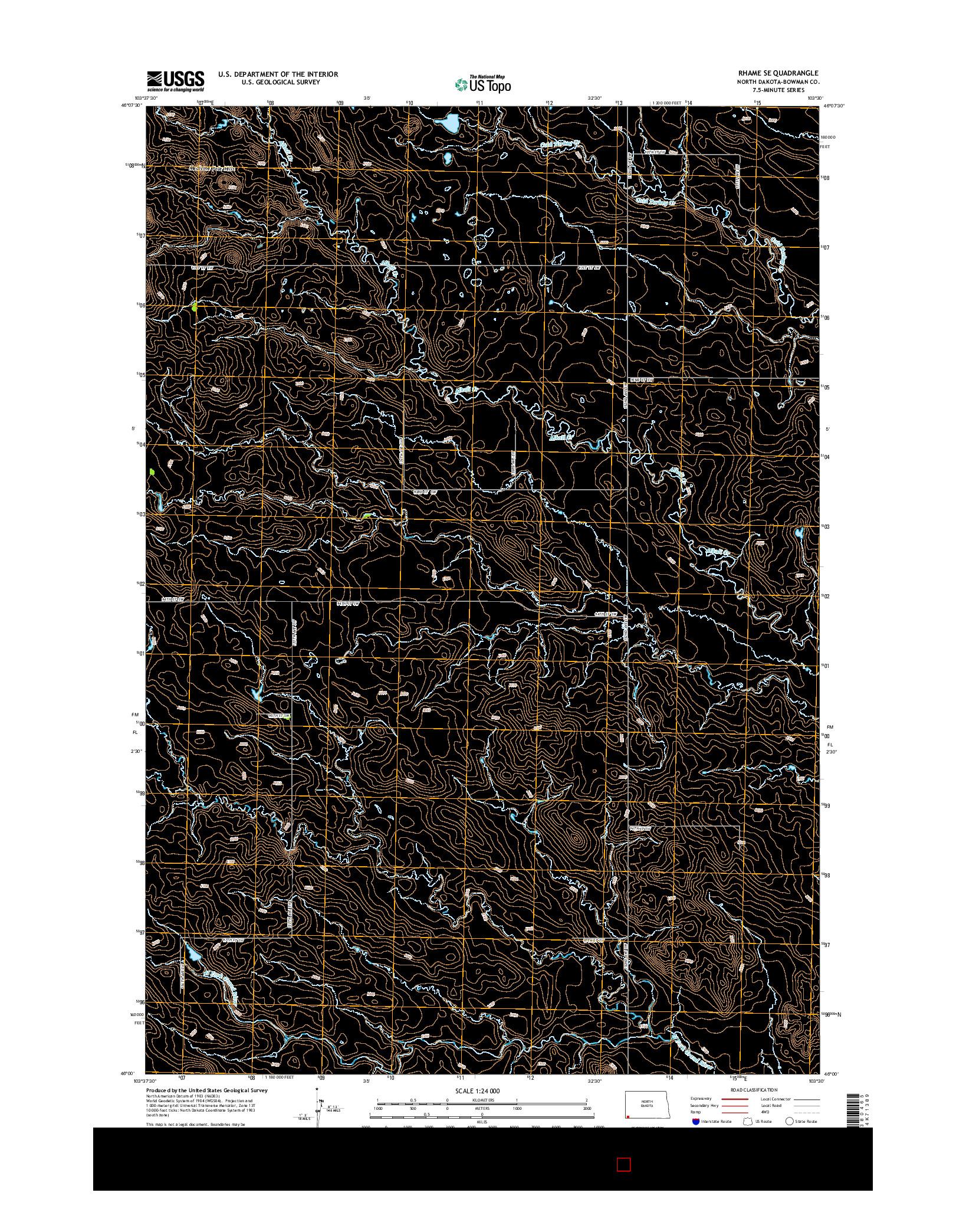 USGS US TOPO 7.5-MINUTE MAP FOR RHAME SE, ND 2014