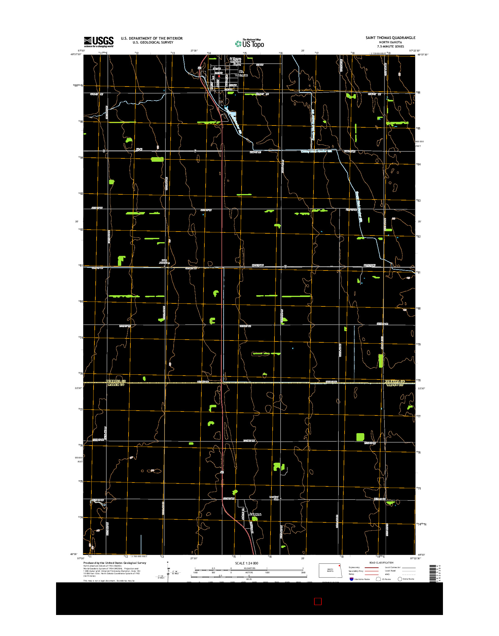USGS US TOPO 7.5-MINUTE MAP FOR SAINT THOMAS, ND 2014