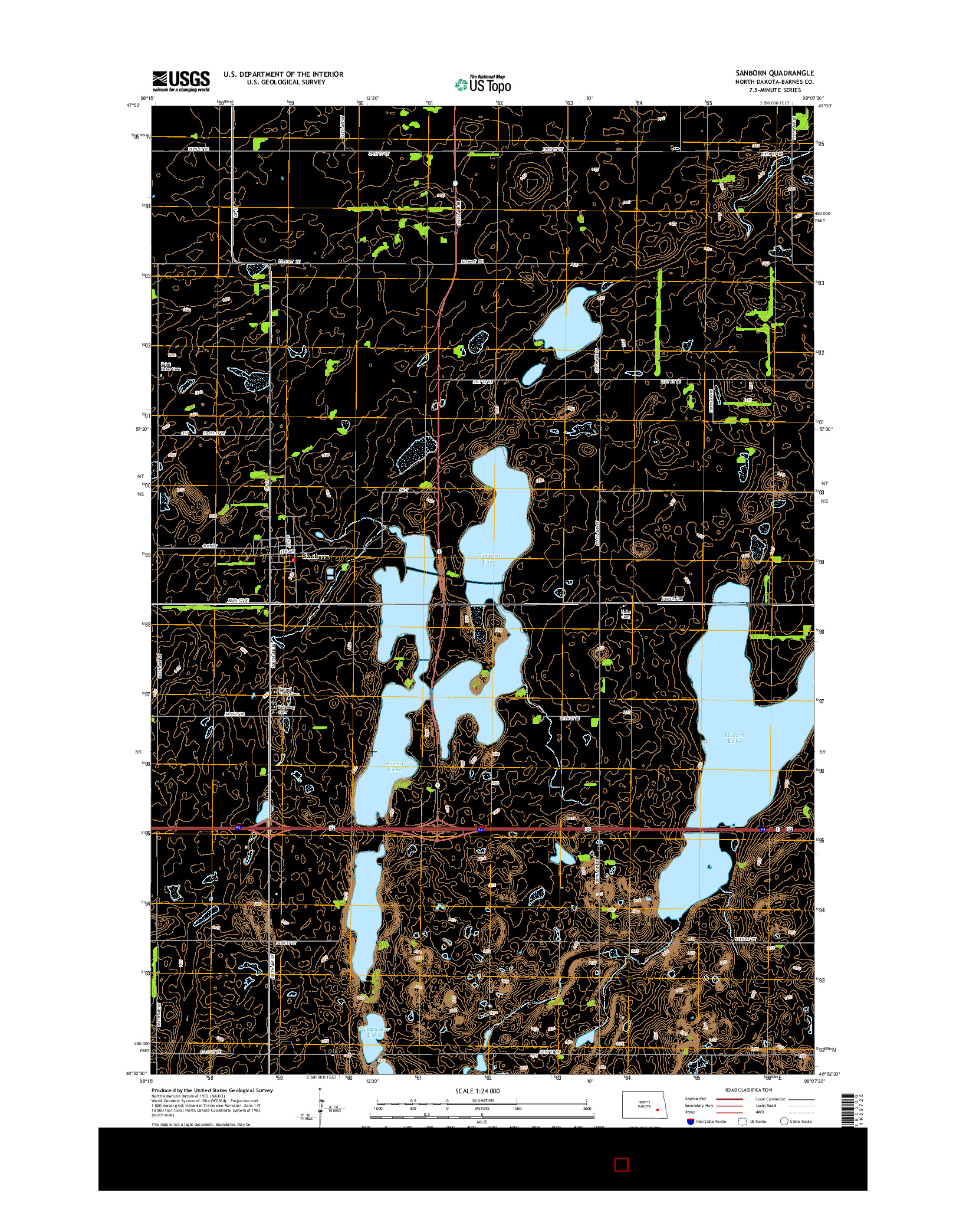 USGS US TOPO 7.5-MINUTE MAP FOR SANBORN, ND 2014