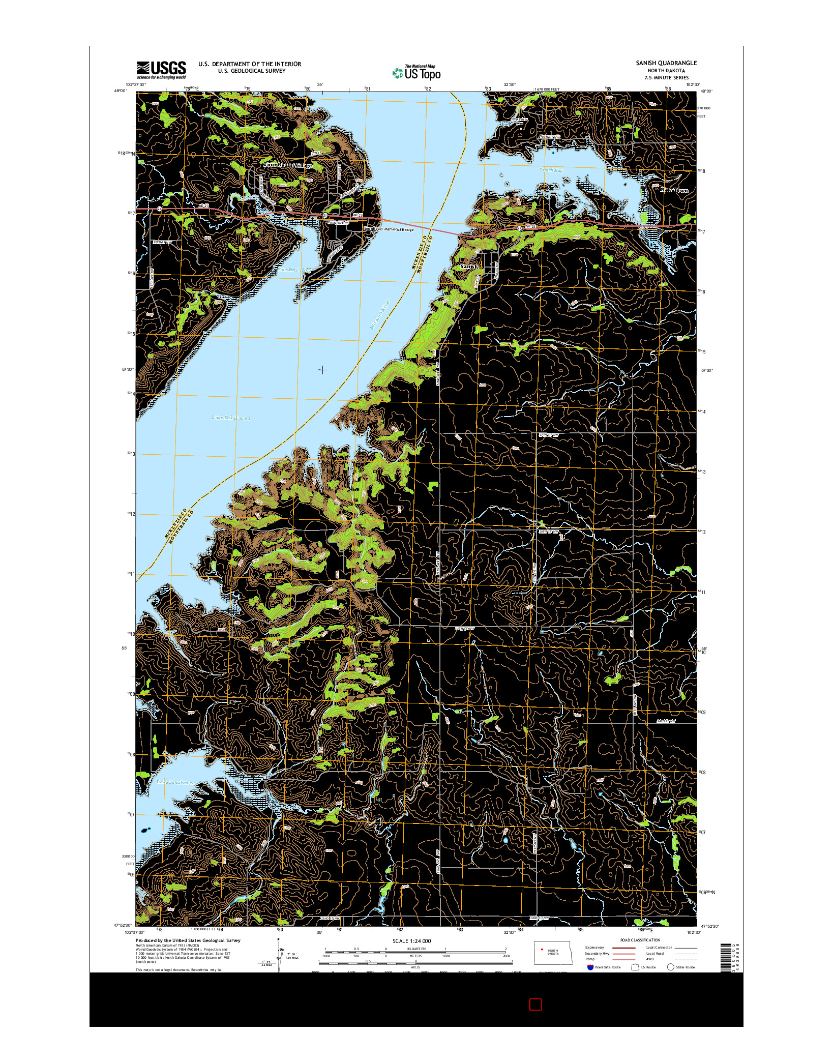USGS US TOPO 7.5-MINUTE MAP FOR SANISH, ND 2014