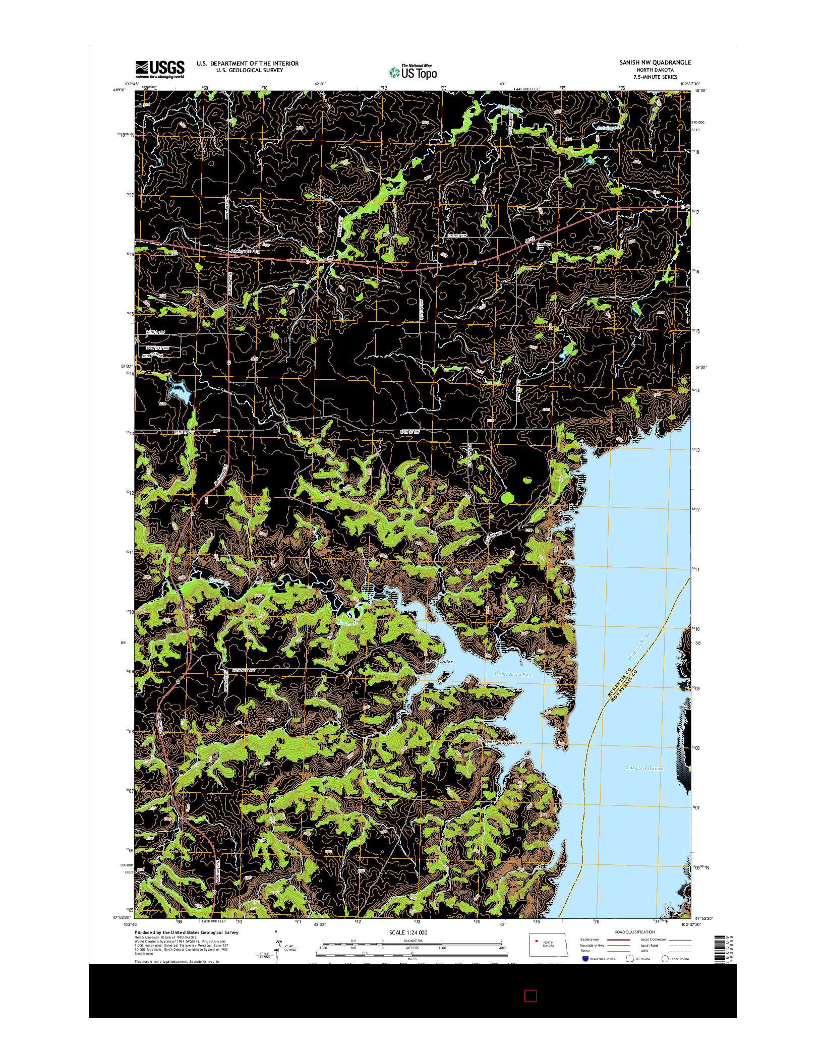 USGS US TOPO 7.5-MINUTE MAP FOR SANISH NW, ND 2014