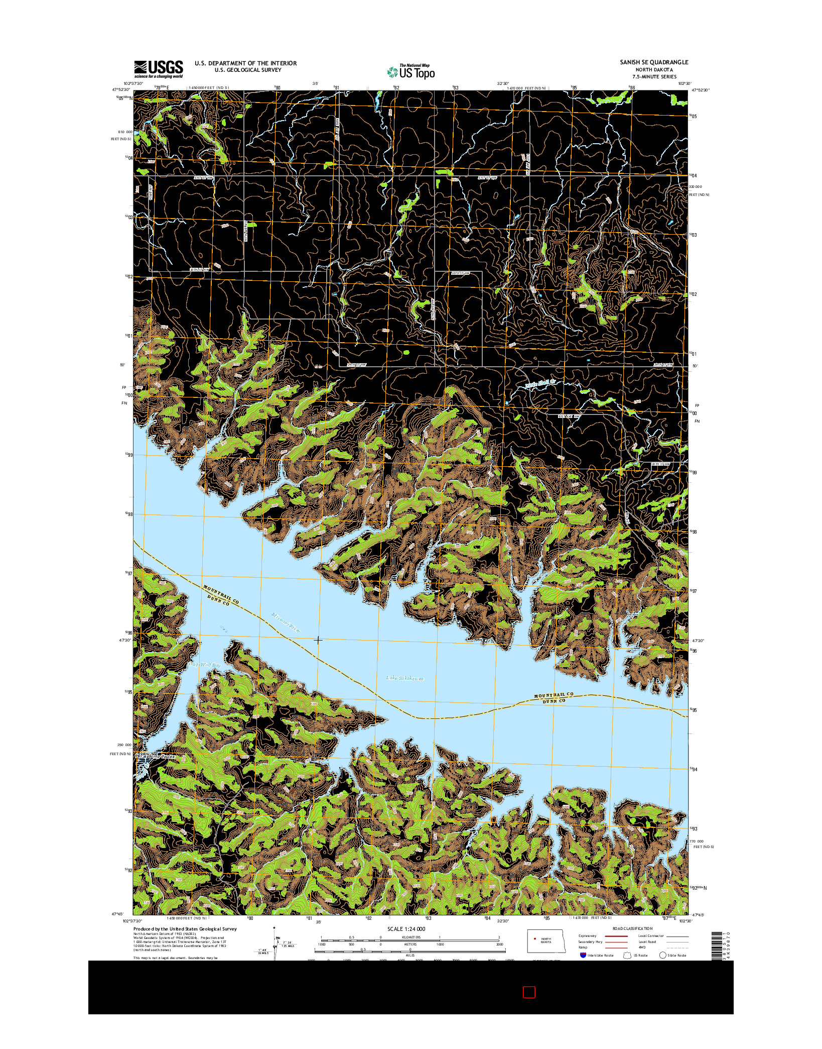 USGS US TOPO 7.5-MINUTE MAP FOR SANISH SE, ND 2014
