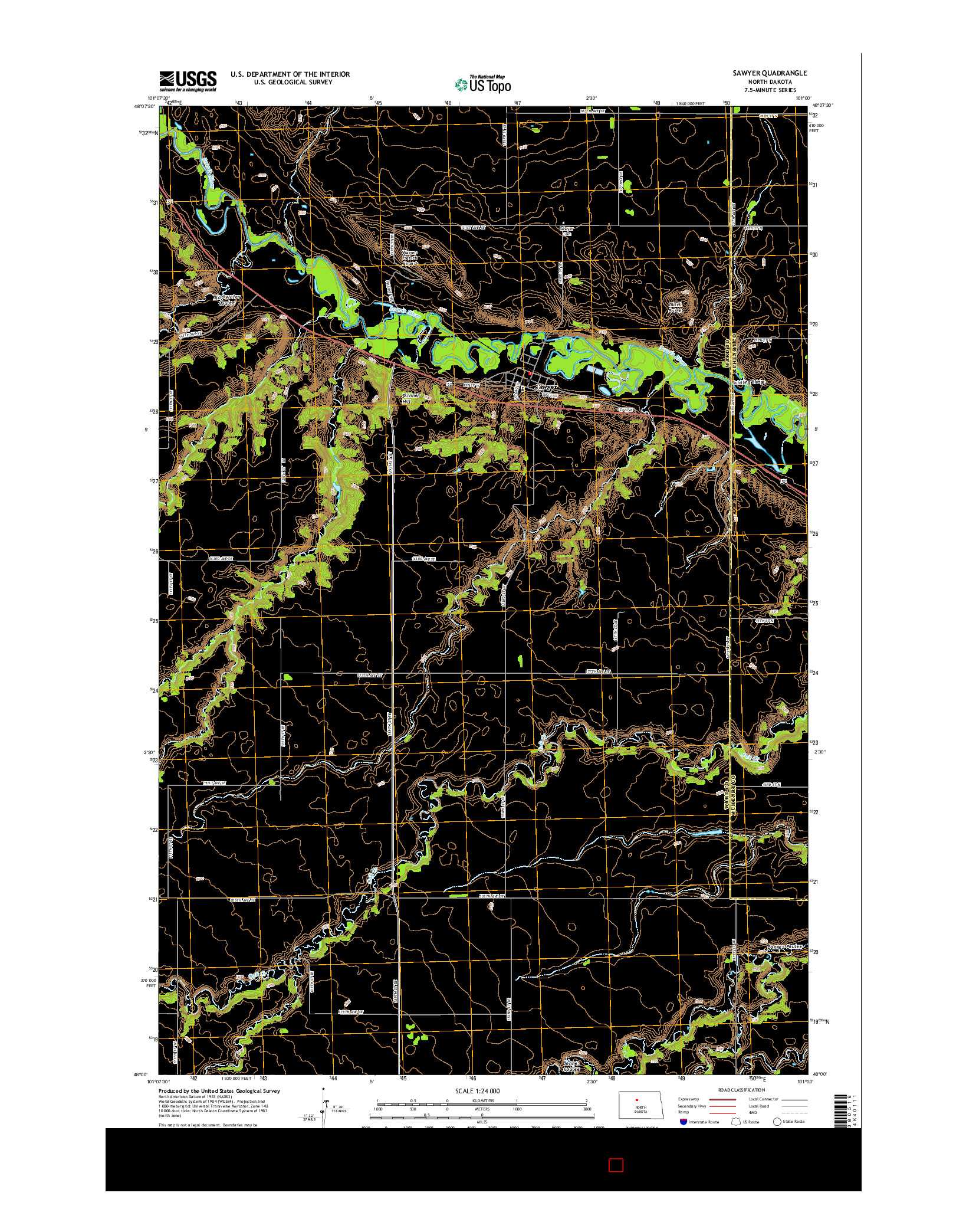 USGS US TOPO 7.5-MINUTE MAP FOR SAWYER, ND 2014